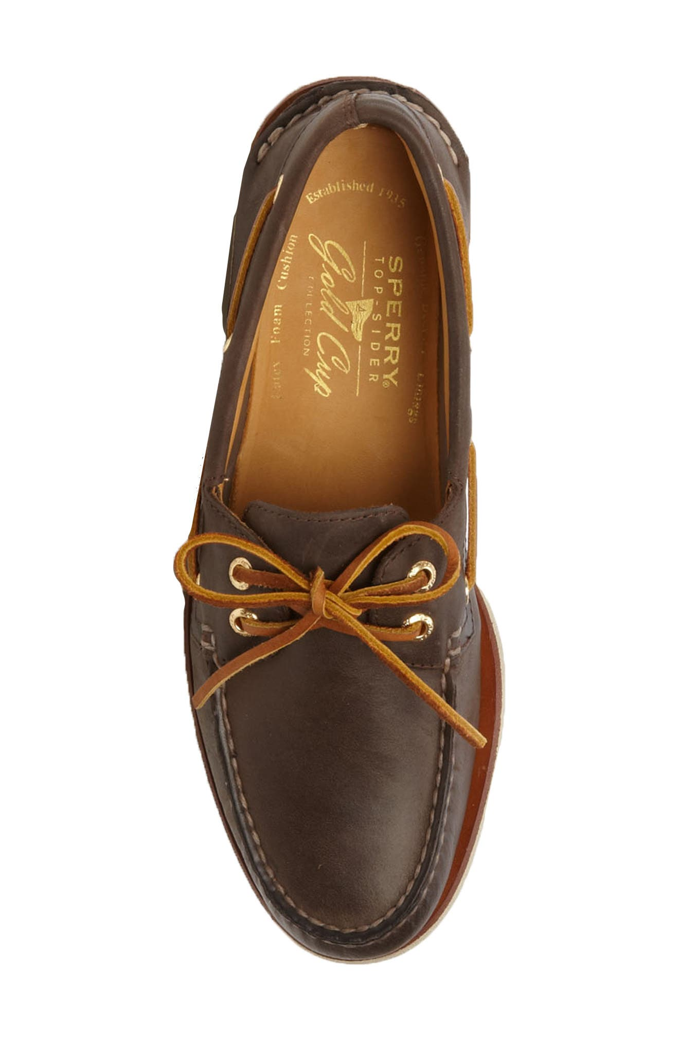 SPERRY, 'Gold Cup - Authentic Original' Boat Shoe, Alternate thumbnail 3, color, DARK BROWN LEATHER