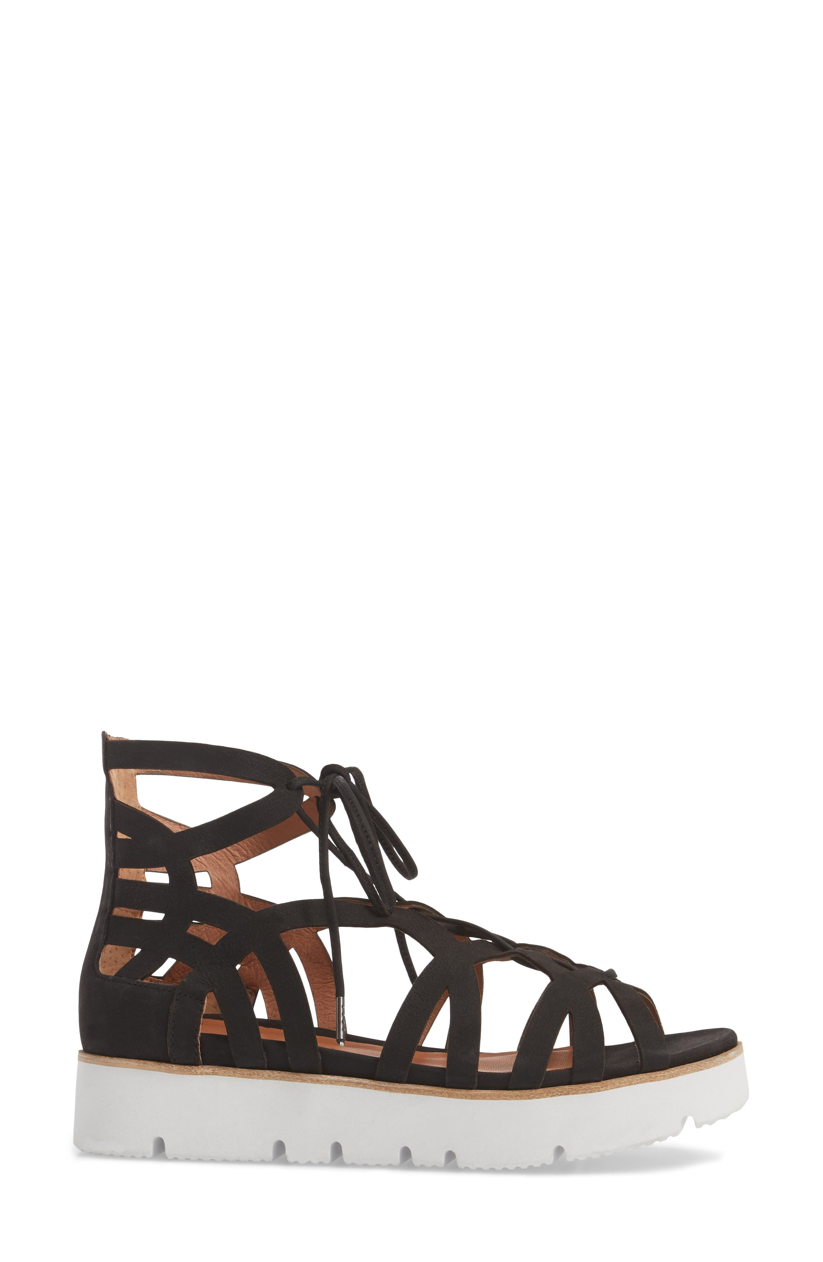 GENTLE SOULS BY KENNETH COLE, Larina Lace-Up Sandal, Alternate thumbnail 3, color, BLACK NUBUCK