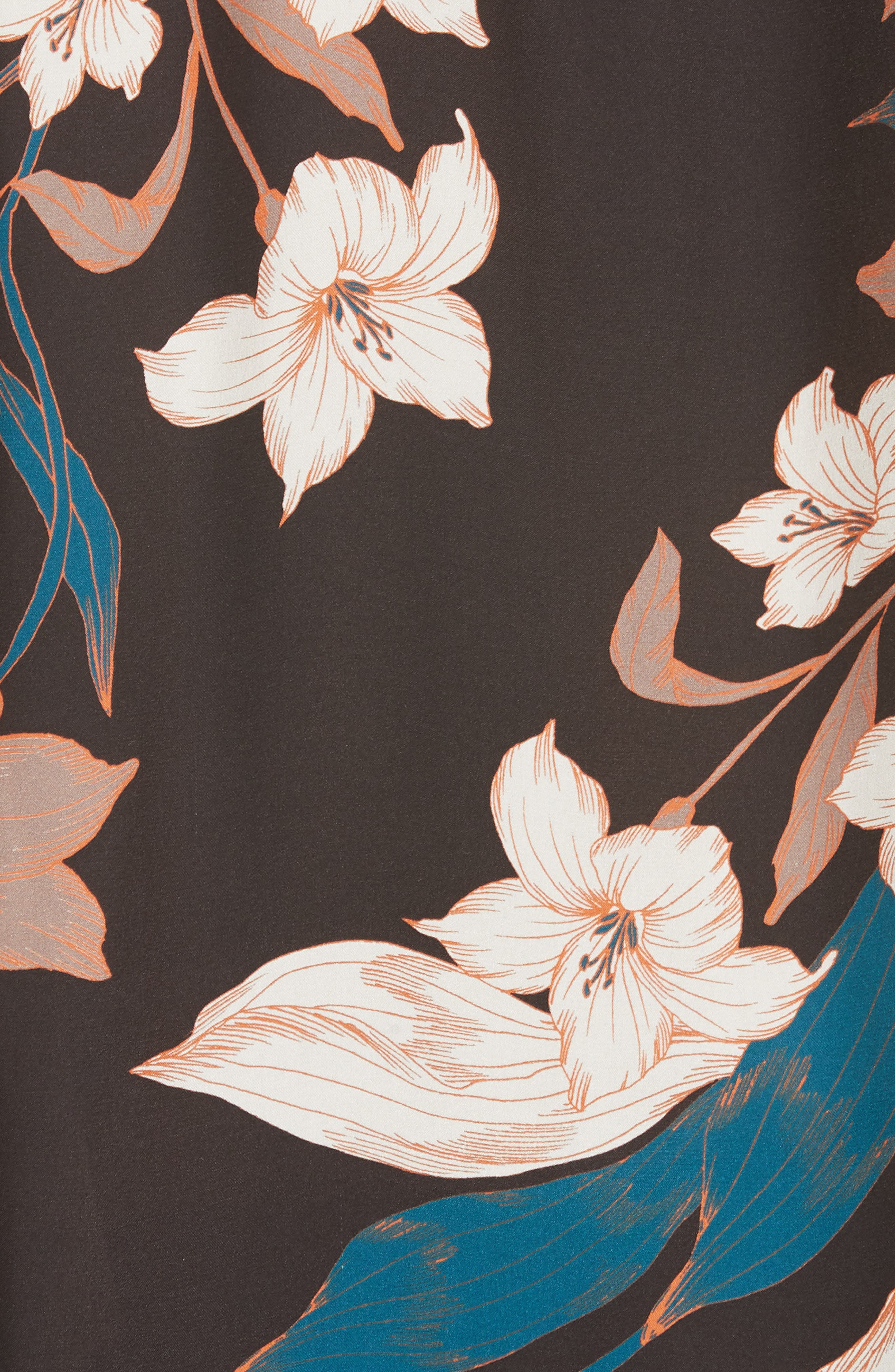 DOLAN, Georgia May Pintuck Silk Top, Alternate thumbnail 5, color, BLACK TIGER LILY