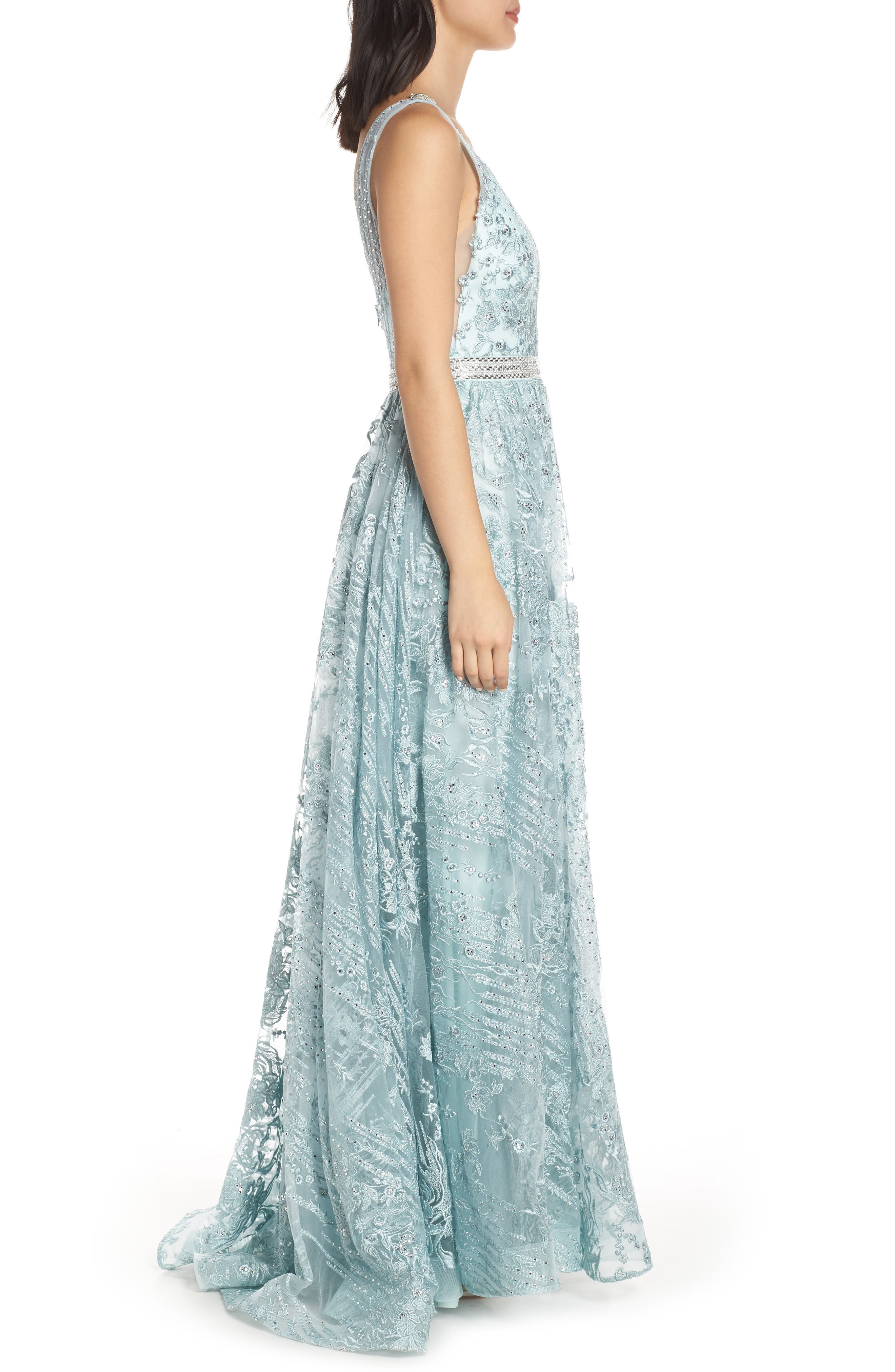 MAC DUGGAL, Beaded & Embroidered Chiffon Evening Dress, Alternate thumbnail 4, color, SEAMIST