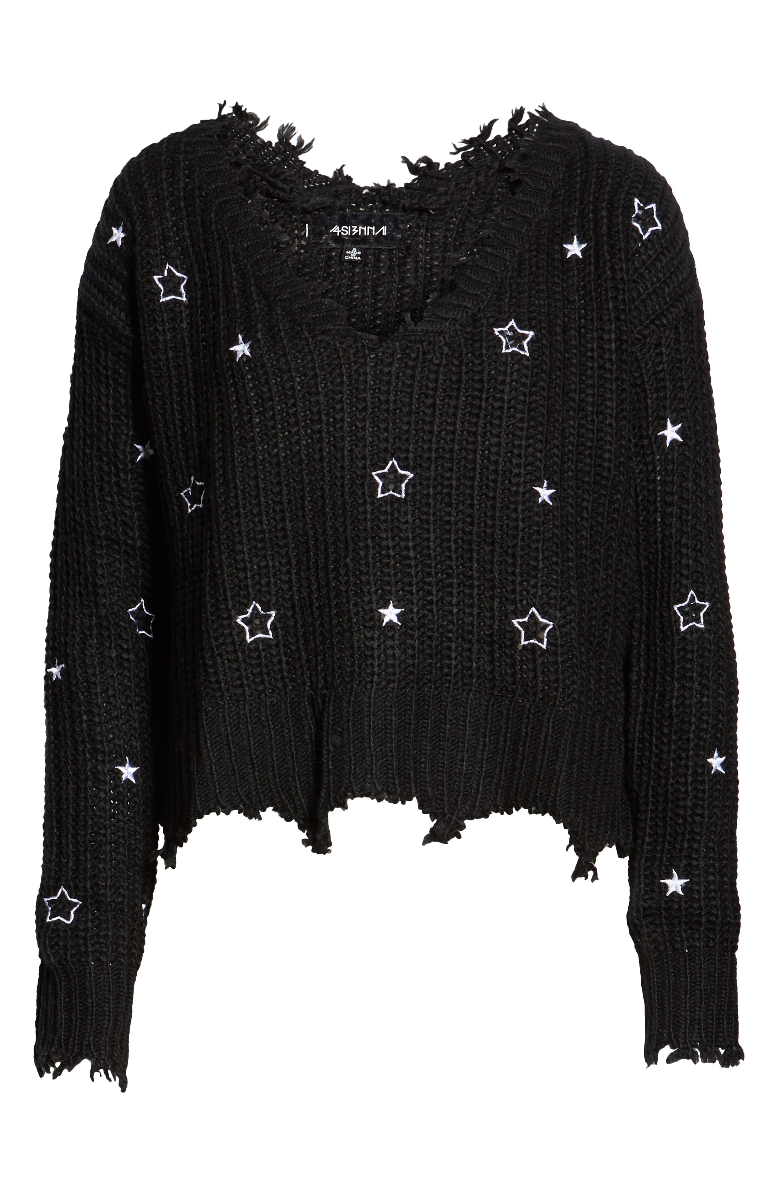 4SI3NNA, Star Sweater, Alternate thumbnail 6, color, 001