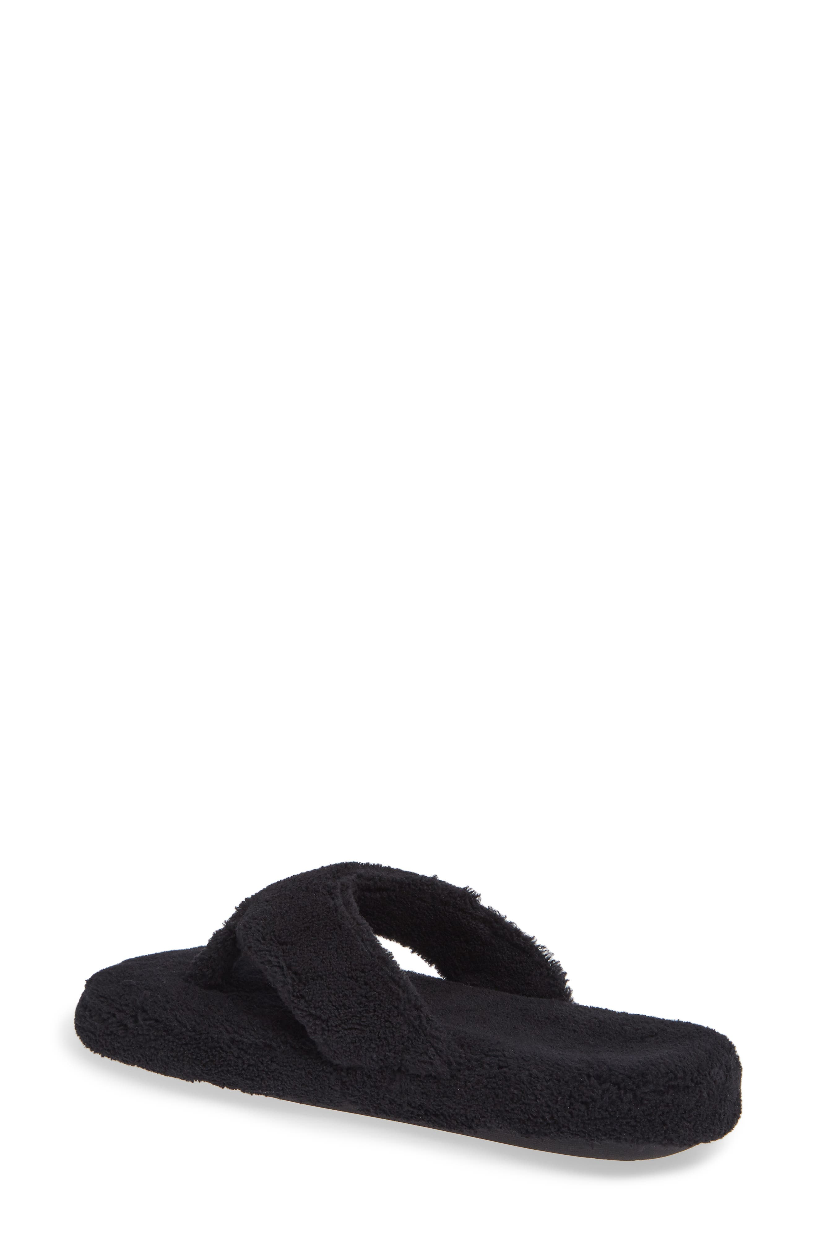 MINNETONKA, Olivia Spa Flip Flop, Alternate thumbnail 2, color, BLACK FABRIC