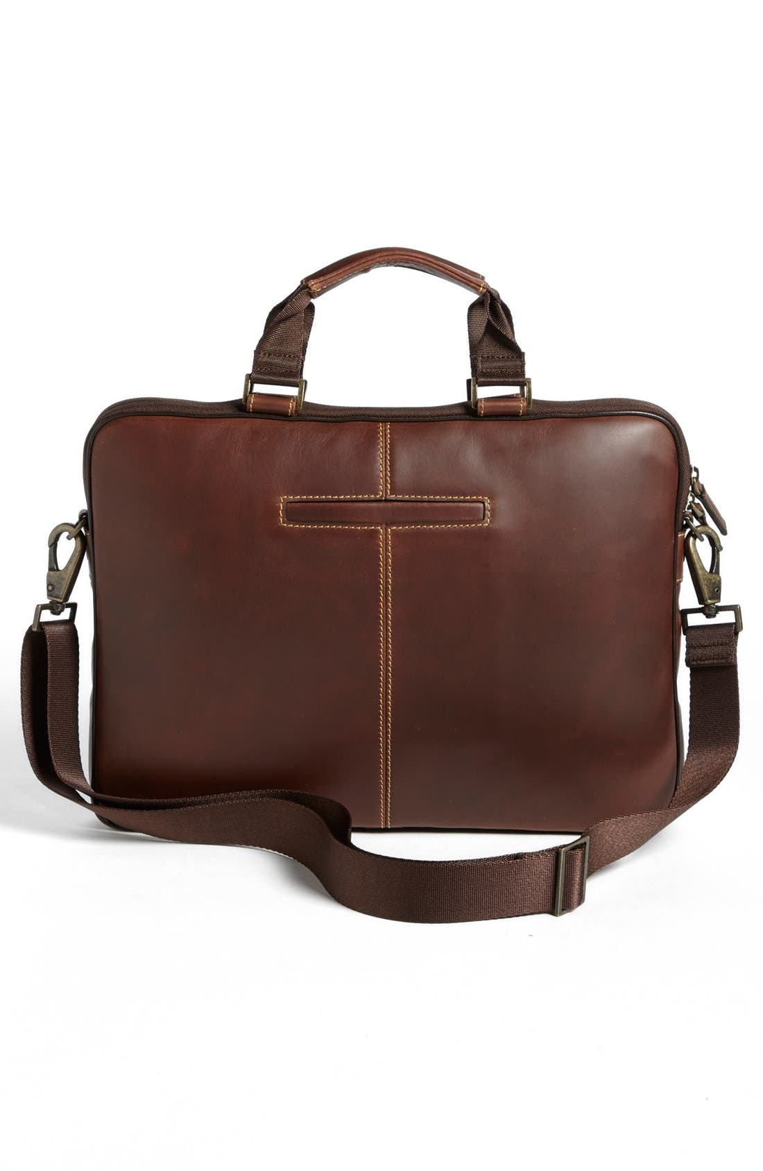 BOCONI, 'Bryant' Slim Leather Laptop Briefcase, Alternate thumbnail 2, color, ANTIQUE MAHOGANY/ HOUNDSTOOTH