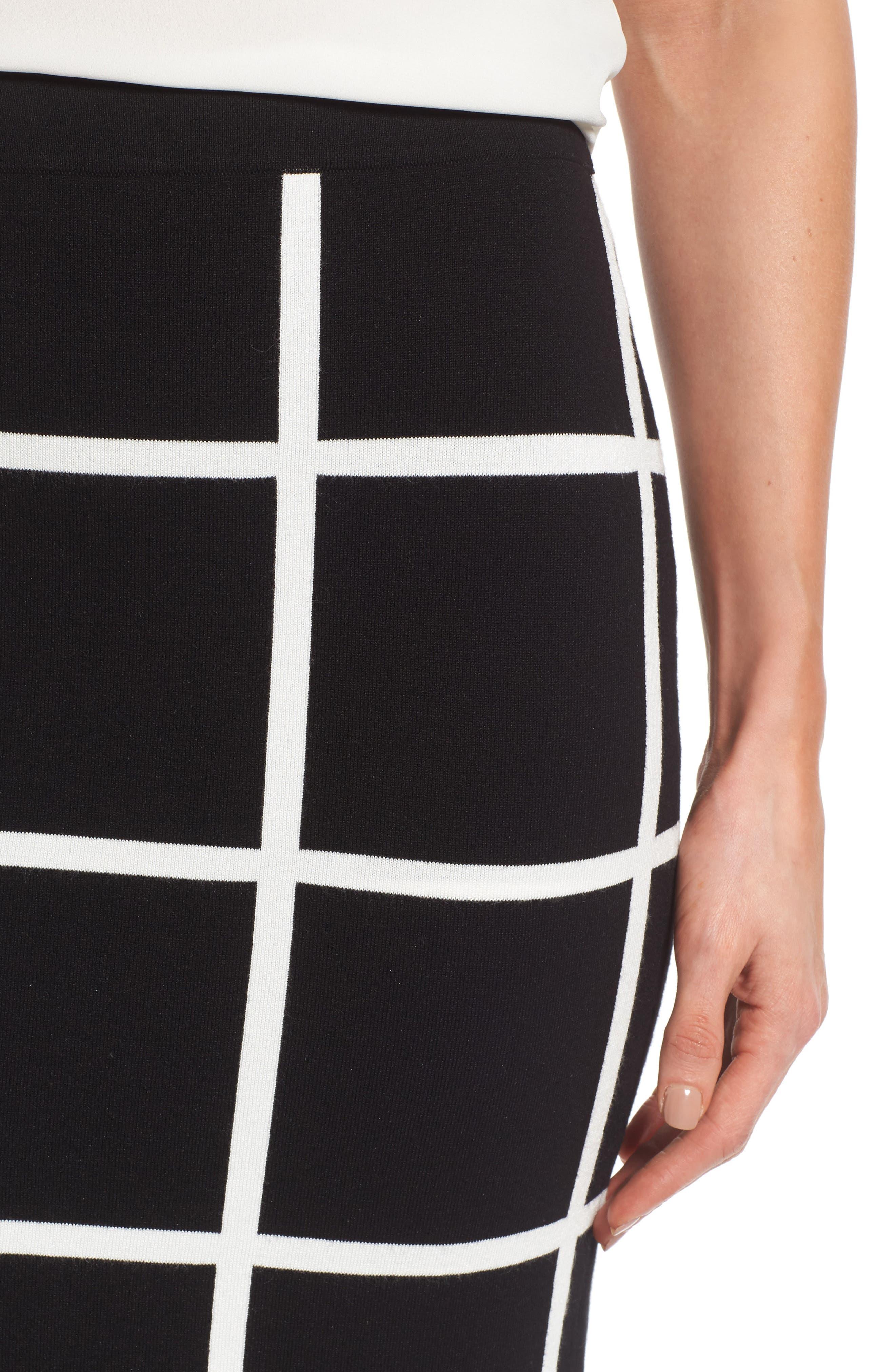 VINCE CAMUTO, Windowpane Sweater Knit Skirt, Alternate thumbnail 4, color, 006