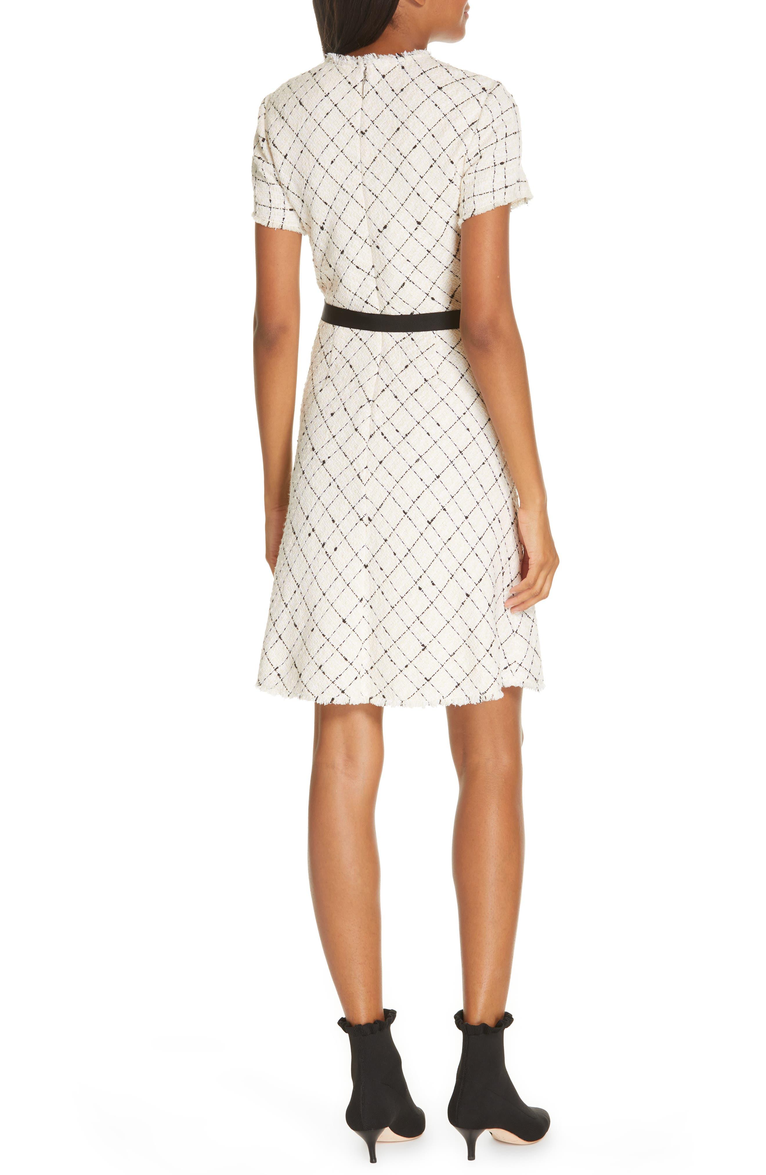 REBECCA TAYLOR, Plaid Tweed Dress, Alternate thumbnail 2, color, CREAM COMBO