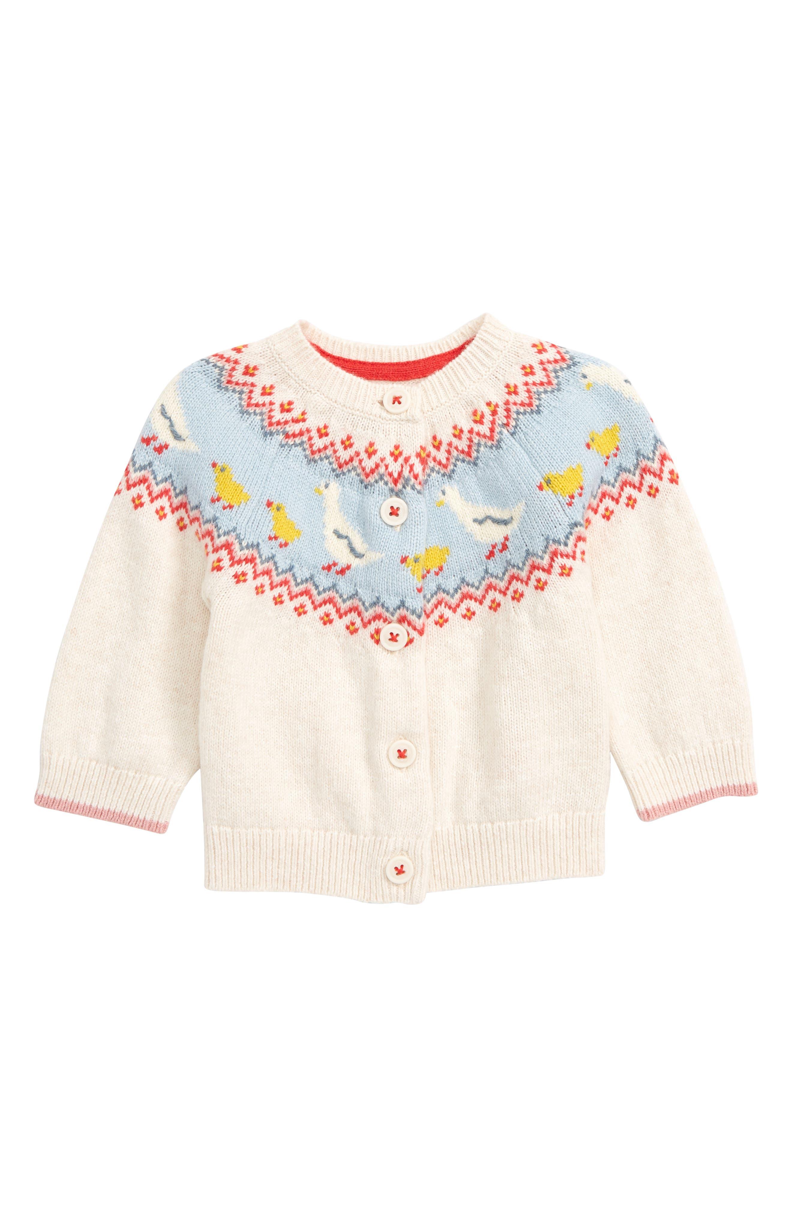 Toddler Girls Mini Boden Fun Cardigan Size 34Y  Ivory