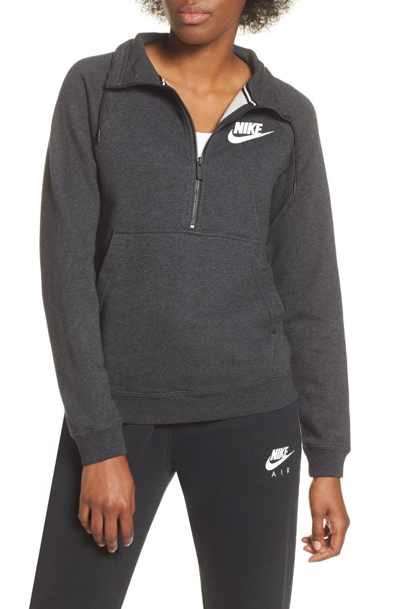 72365db025190 NIKE NSW Rally Half-Zip Top, Main, color, BLACK HEATHER/ BLACK