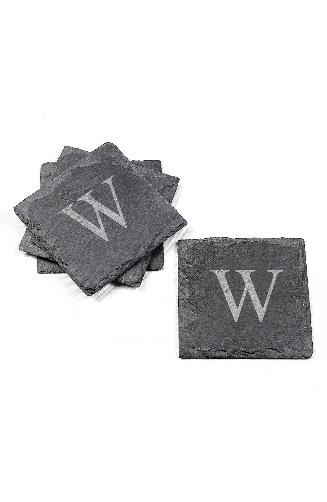 CATHY'S CONCEPTS, Monogram Slate Coasters, Alternate thumbnail 2, color, W