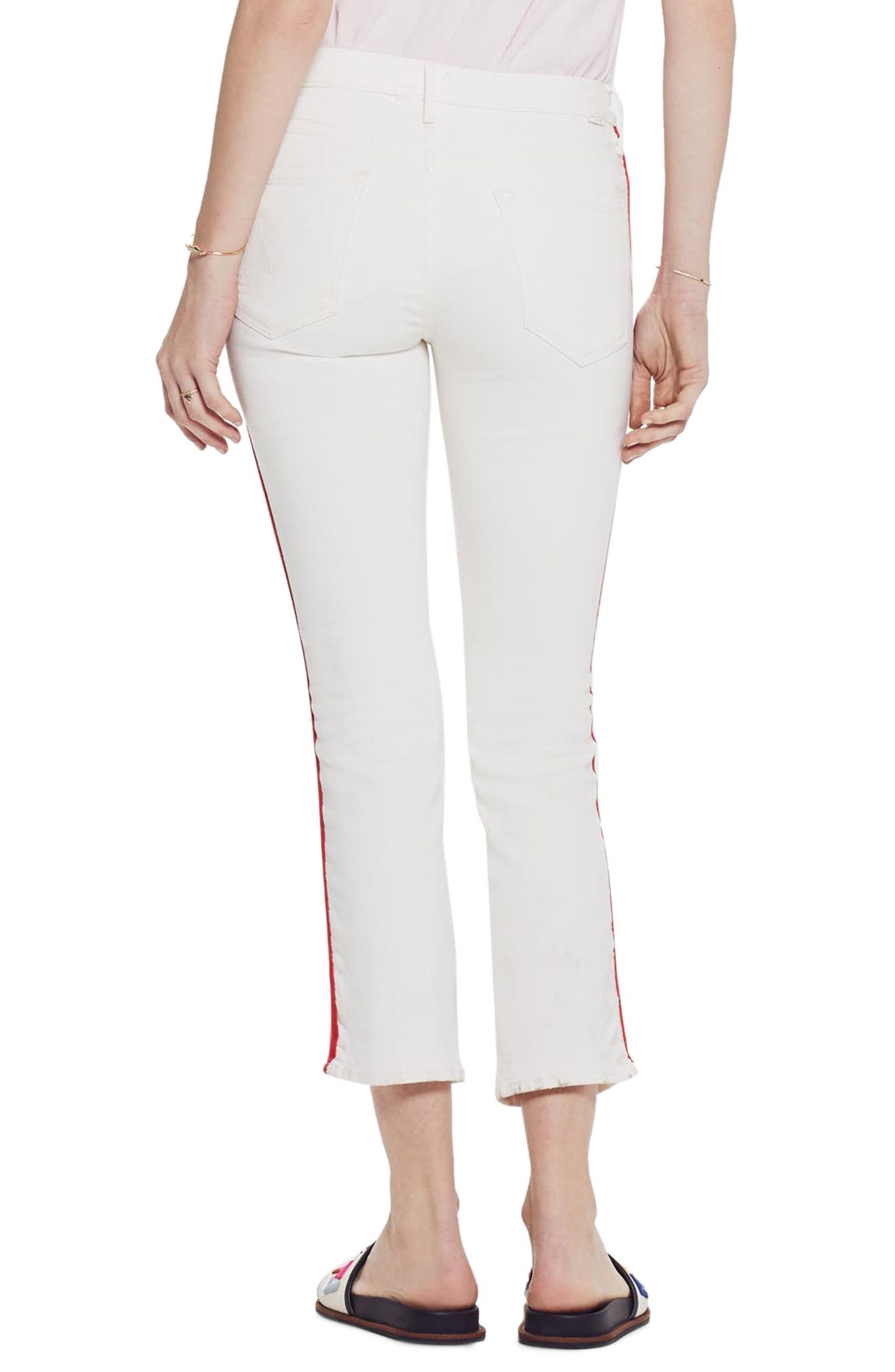 MOTHER, The Dazzler Mid Rise Crop Slim Jeans, Alternate thumbnail 2, color, WHIPPING THE CREAM PINK RACER