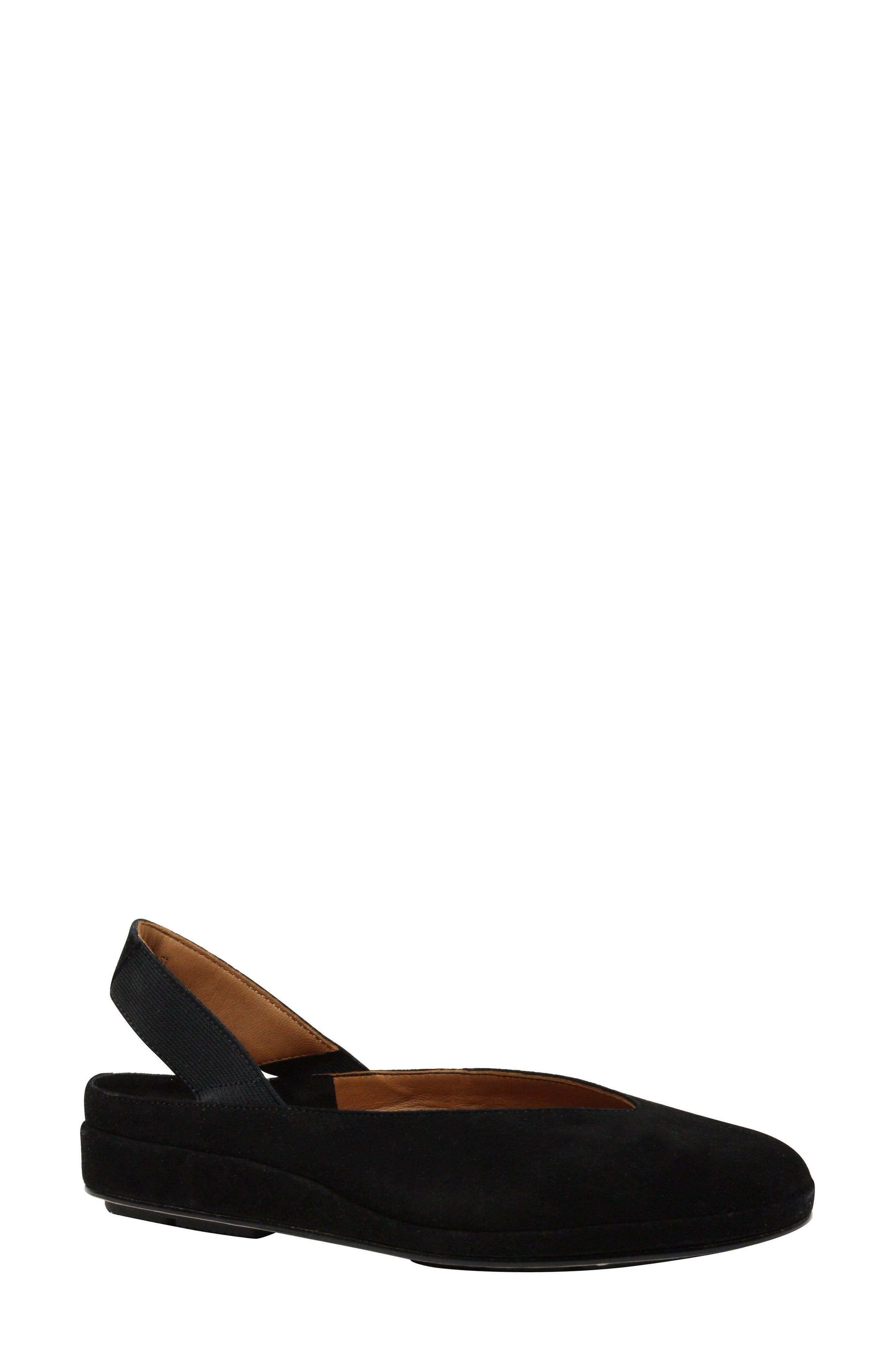 L'AMOUR DES PIEDS, 'Cypris' Slingback Wedge, Main thumbnail 1, color, BLACK SUEDE