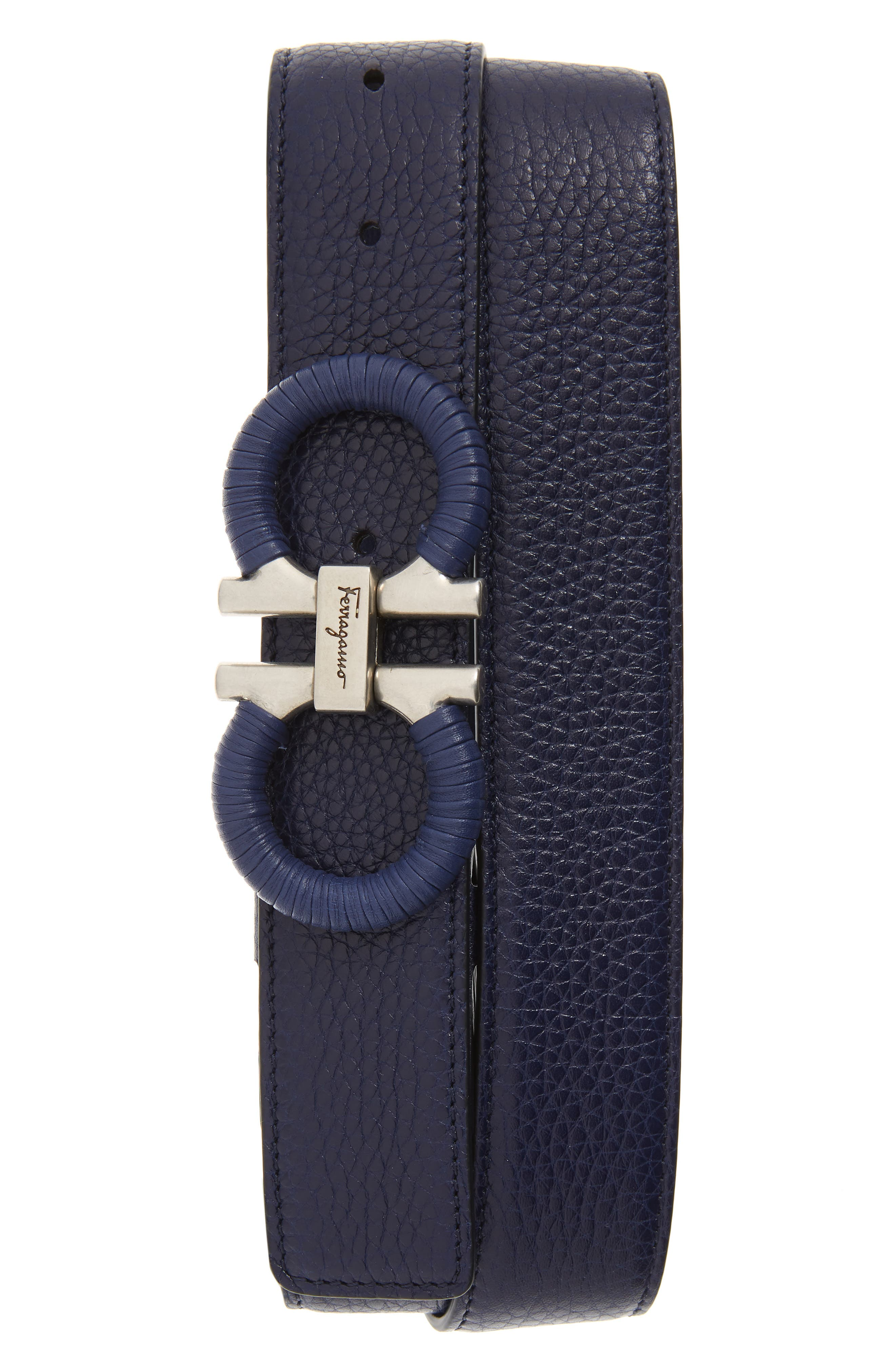 SALVATORE FERRAGAMO Textured & Smooth Leather Belt, Main, color, CADET BLUE