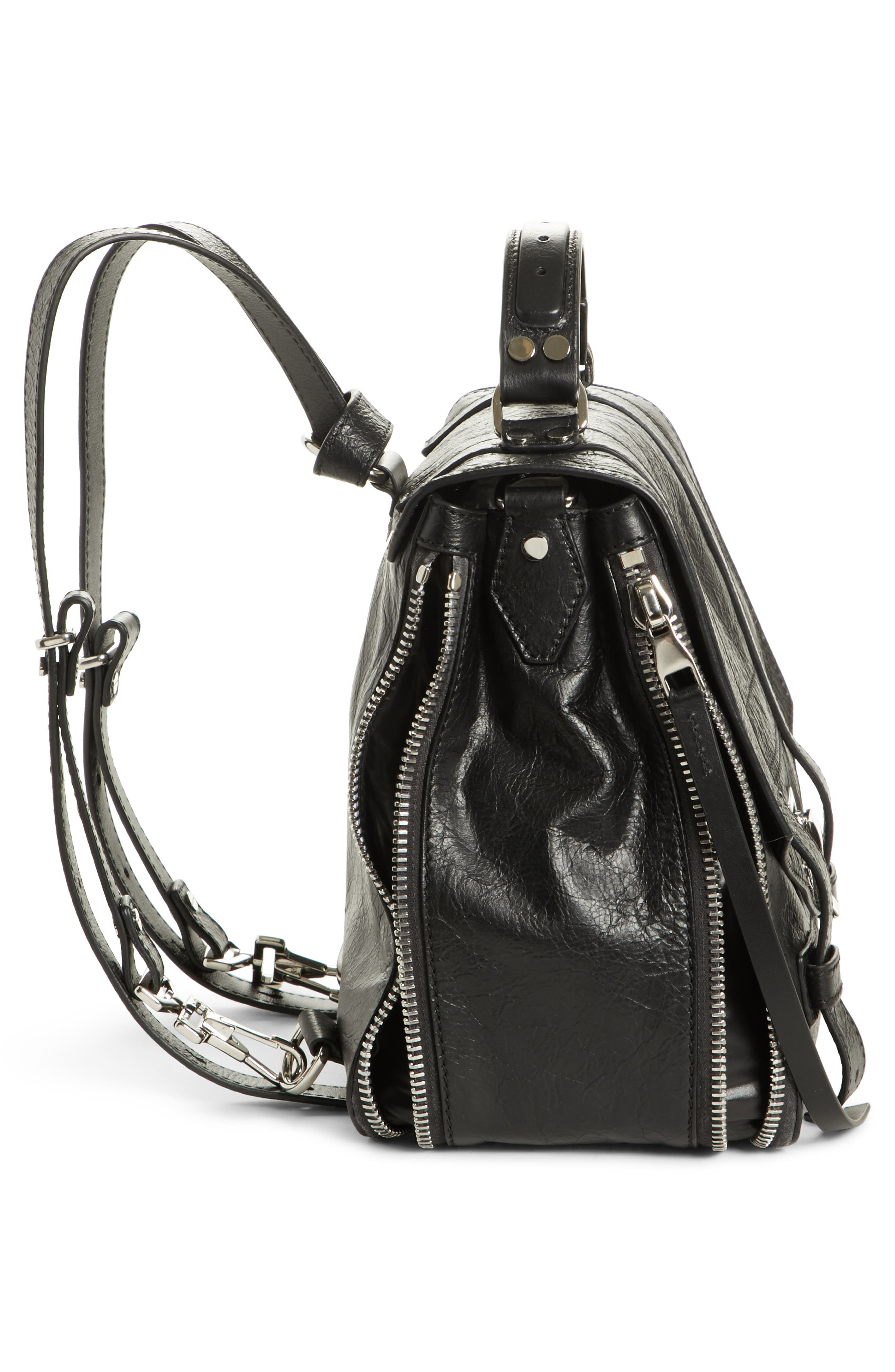 PROENZA SCHOULER, PS1 Leather Convertible Backpack, Alternate thumbnail 5, color, BLACK