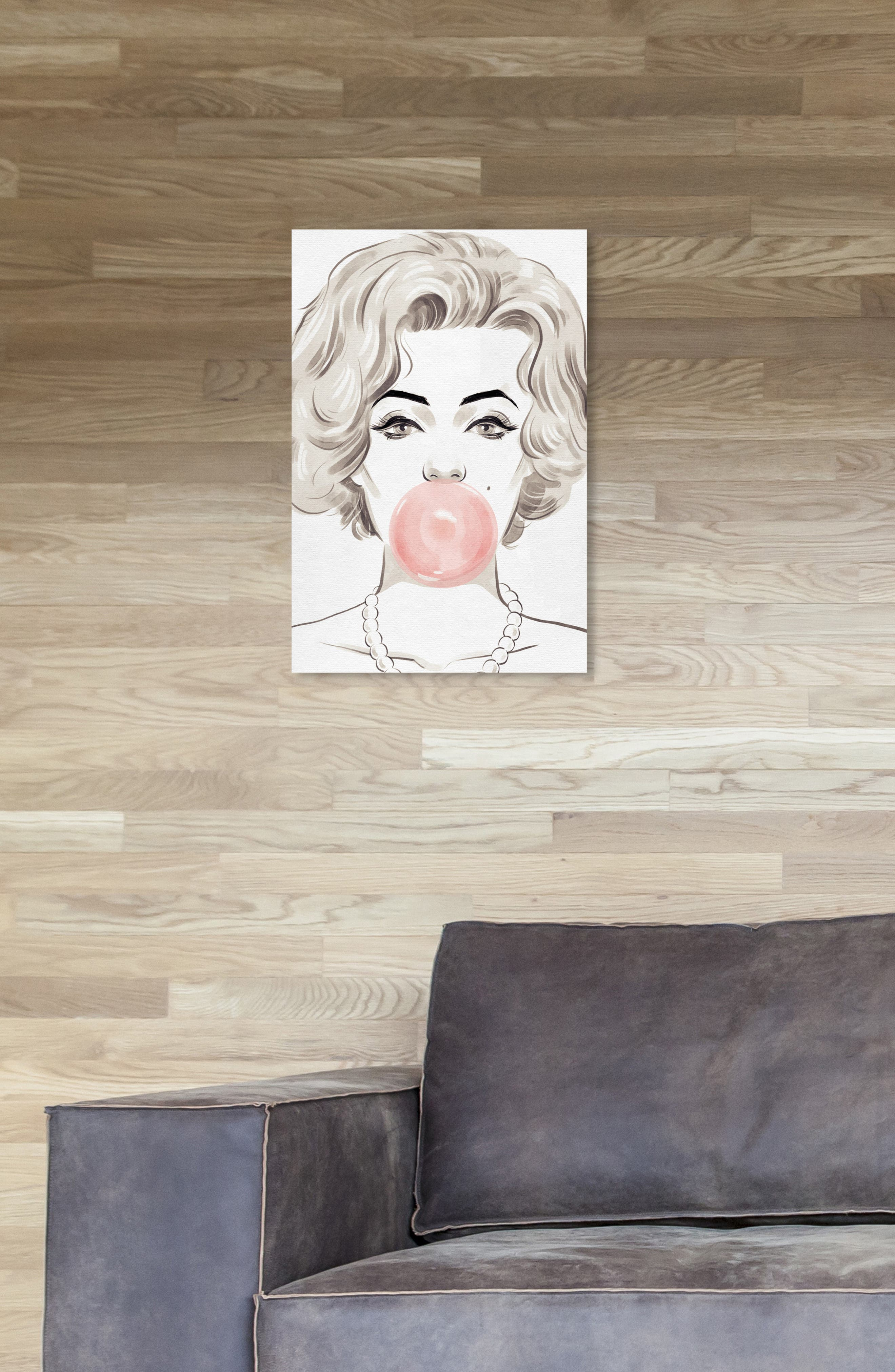 OLIVER GAL, Bubblegum Beauty Canvas Wall Art, Alternate thumbnail 6, color, PINK