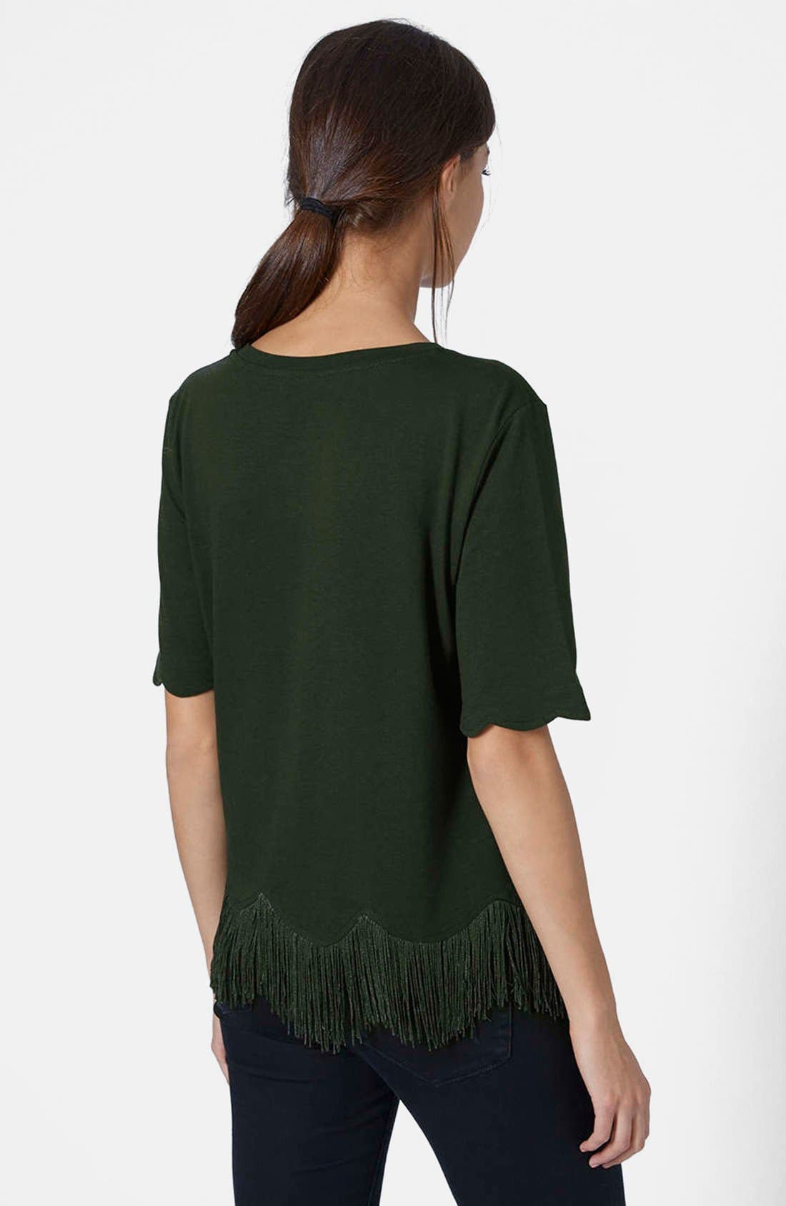 TOPSHOP, Fringe Scallop Tee, Alternate thumbnail 5, color, 301