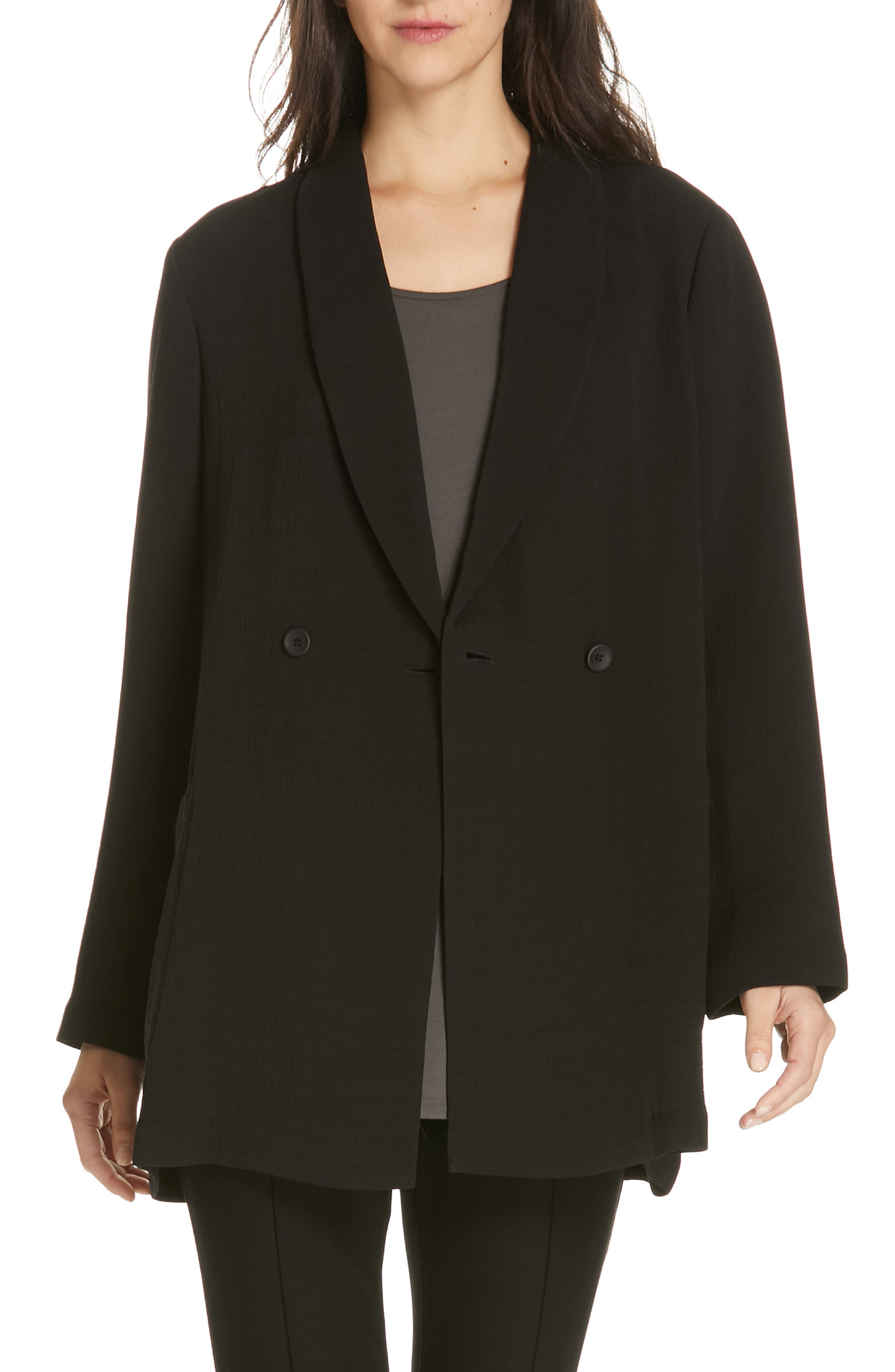 EILEEN FISHER, Double Breasted Blazer, Main thumbnail 1, color, BLACK