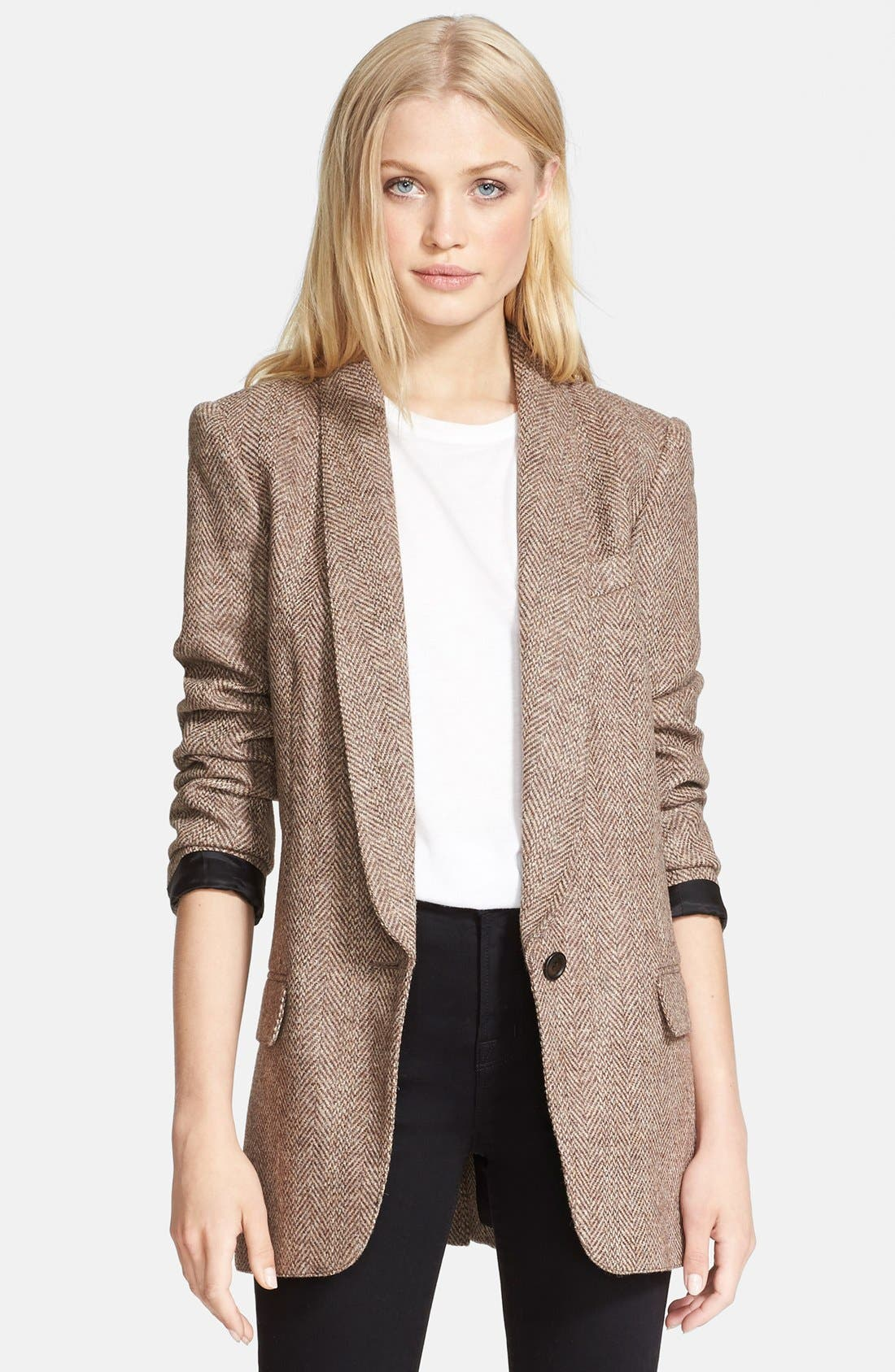 SMYTHE, Herringbone Boyfriend Blazer, Main thumbnail 1, color, 251