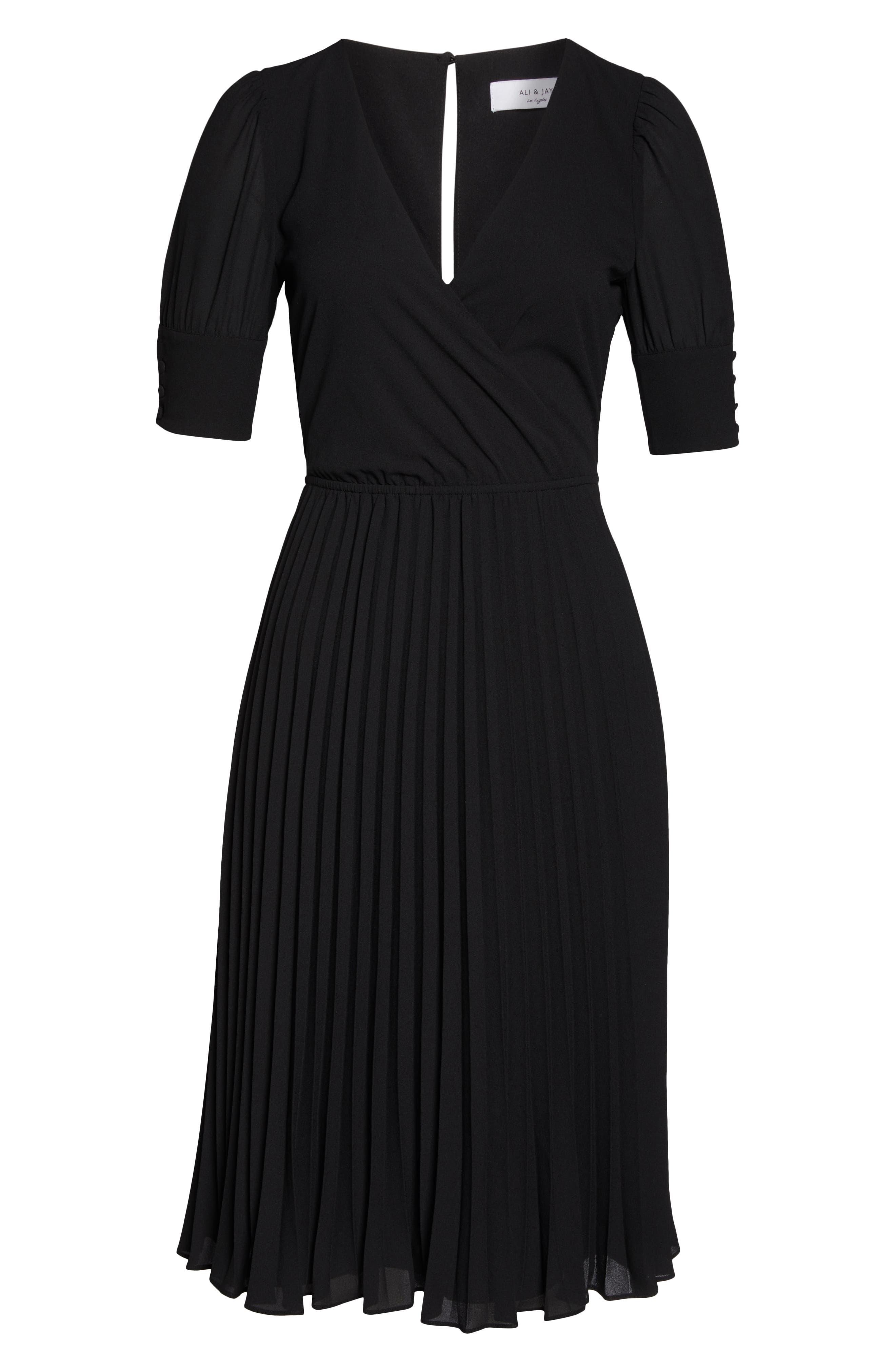 ALI & JAY, Angles Flight Chiffon Fit & Flare Dress, Alternate thumbnail 7, color, BLACK
