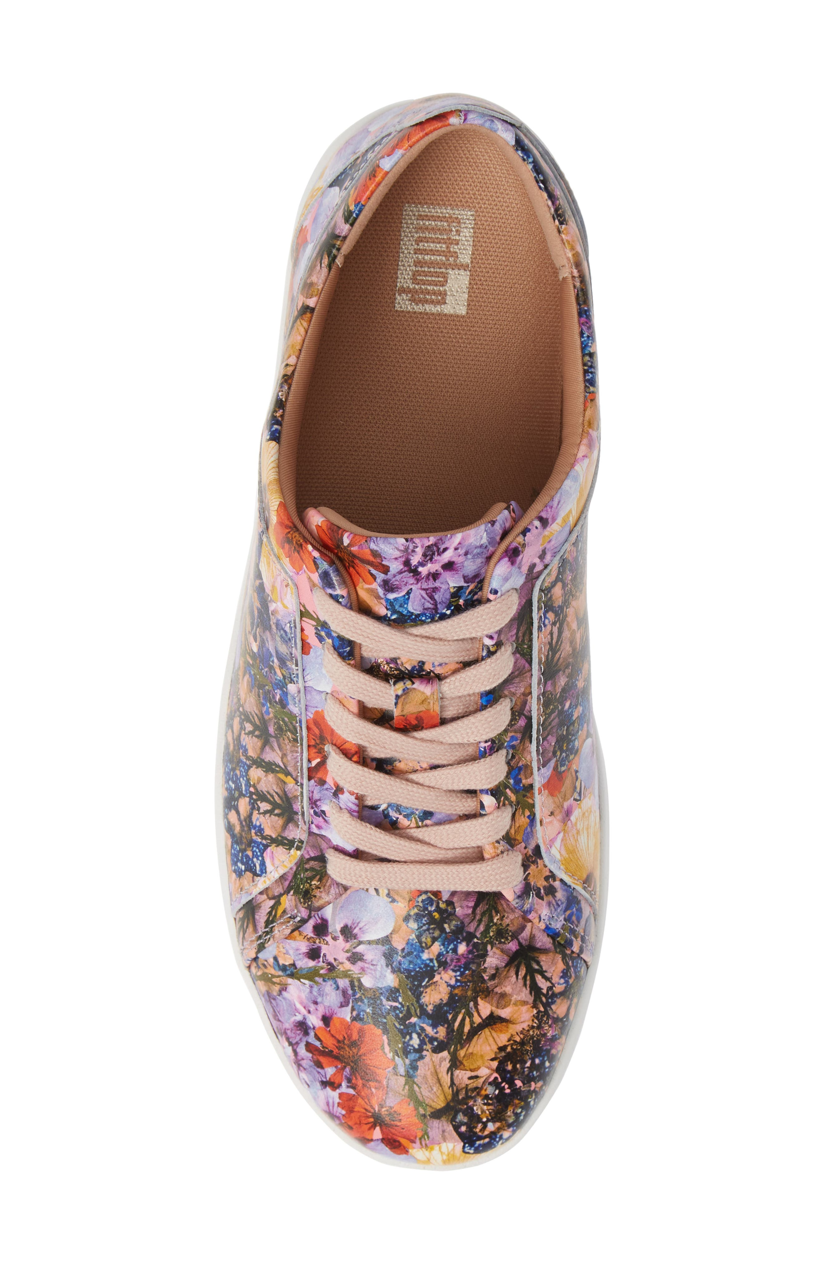 FITFLOP, Rally Flower Crush Leather Sneaker, Alternate thumbnail 5, color, OYSTER PINK FLOWER