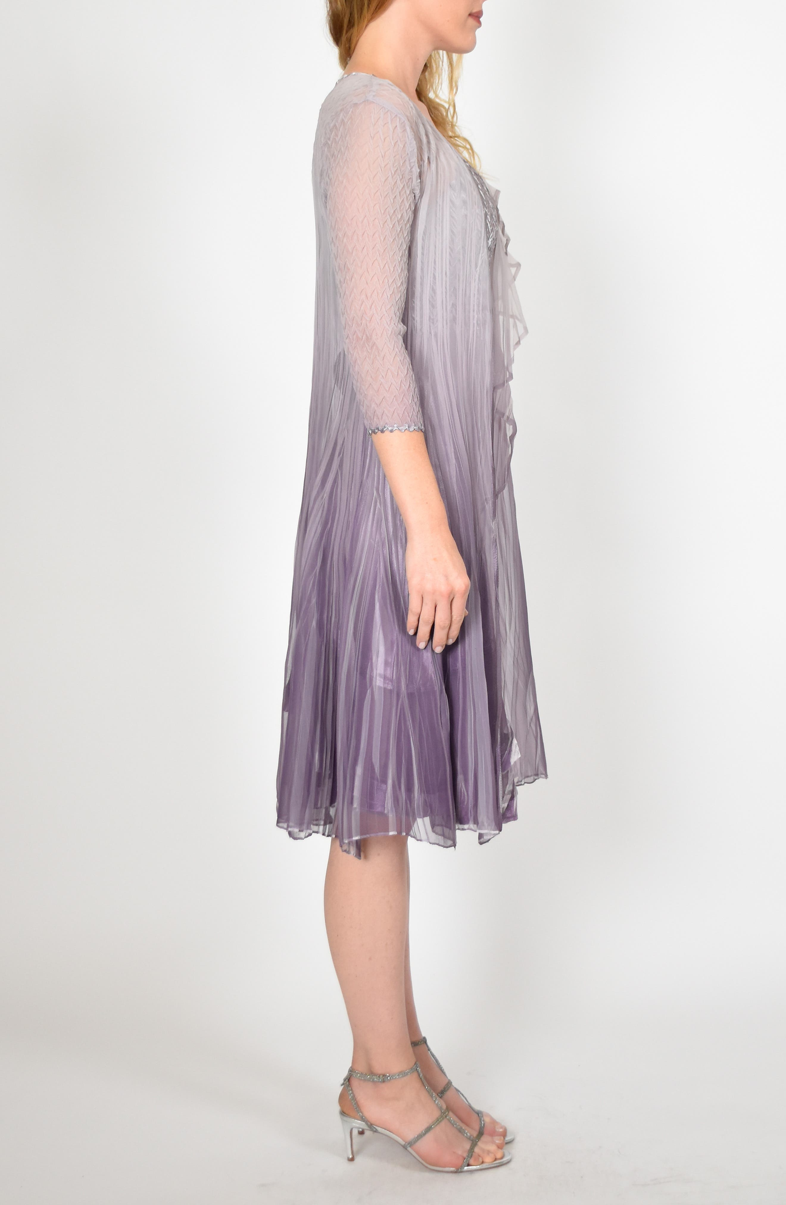 KOMAROV, Komorav Charmeuse Dress with Cascade Jacket, Alternate thumbnail 7, color, GREY VIOLET ORCHID OMBRE