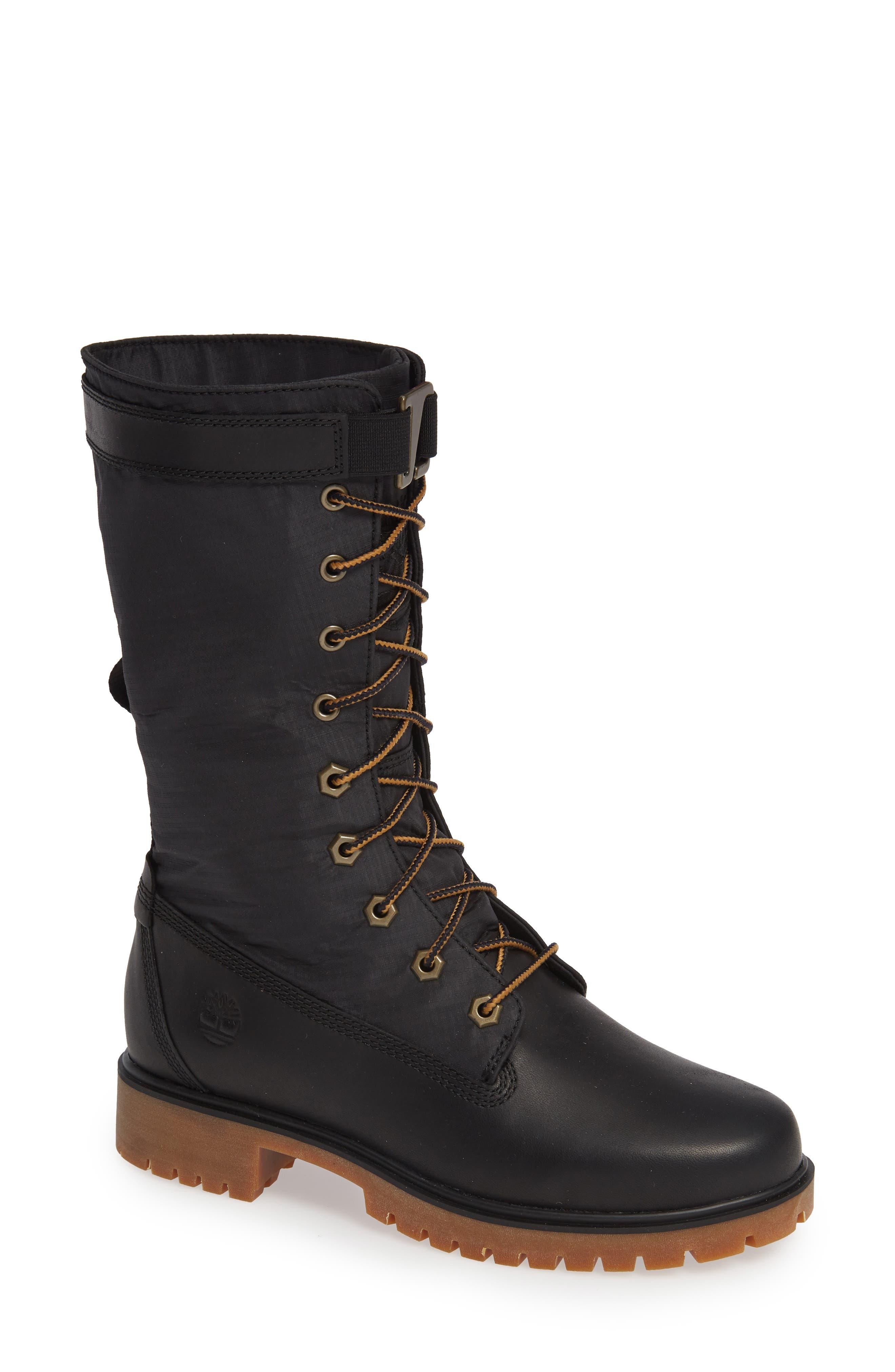 TIMBERLAND Jayne Waterproof Boot, Main, color, JET BLACK LEATHER