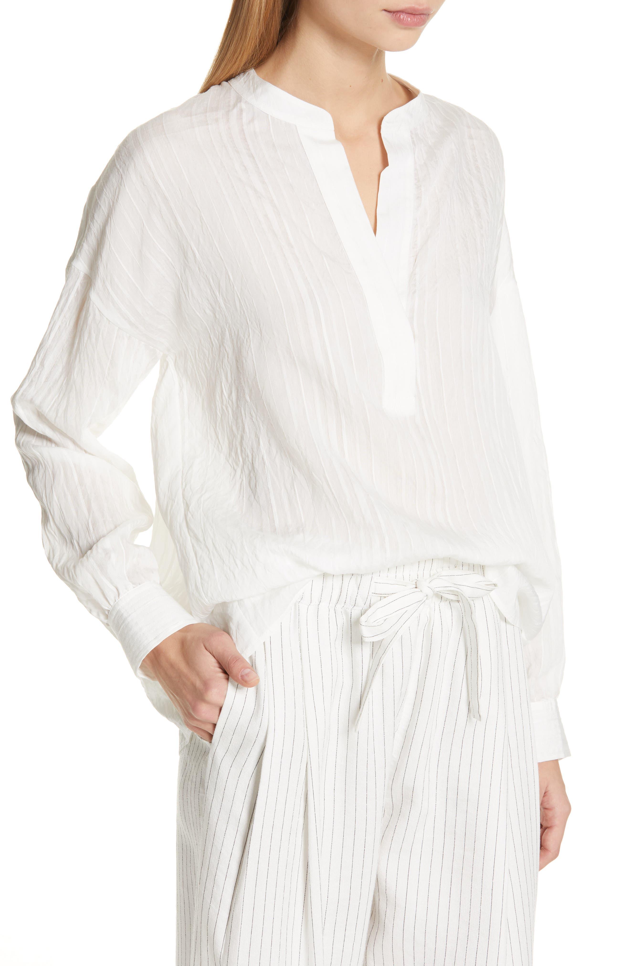 VINCE, Stripe Drop Sleeve Shirt, Alternate thumbnail 4, color, OPTIC WHITE