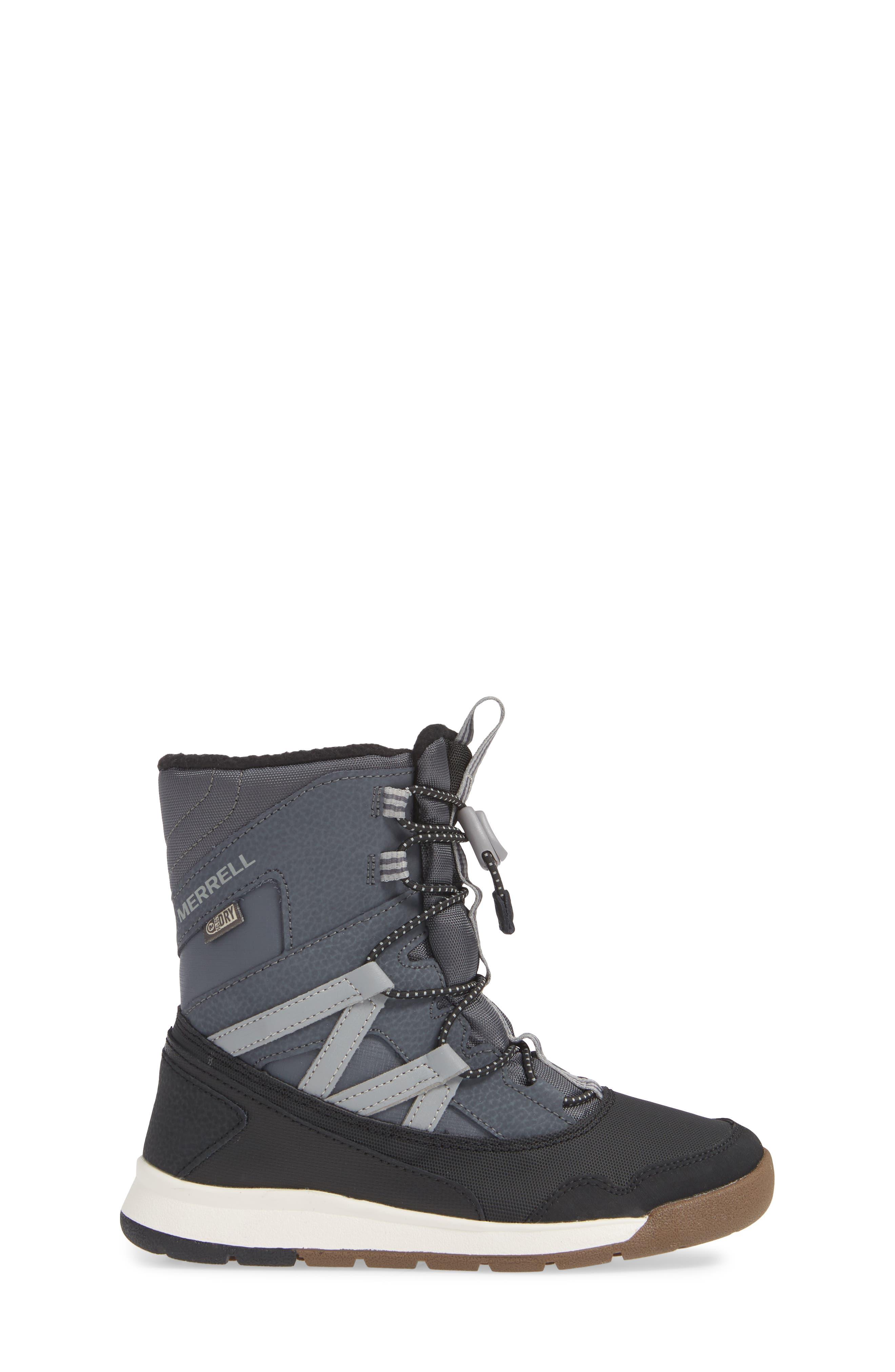 MERRELL, Snow Crush Waterproof Snow Boot, Alternate thumbnail 3, color, 020