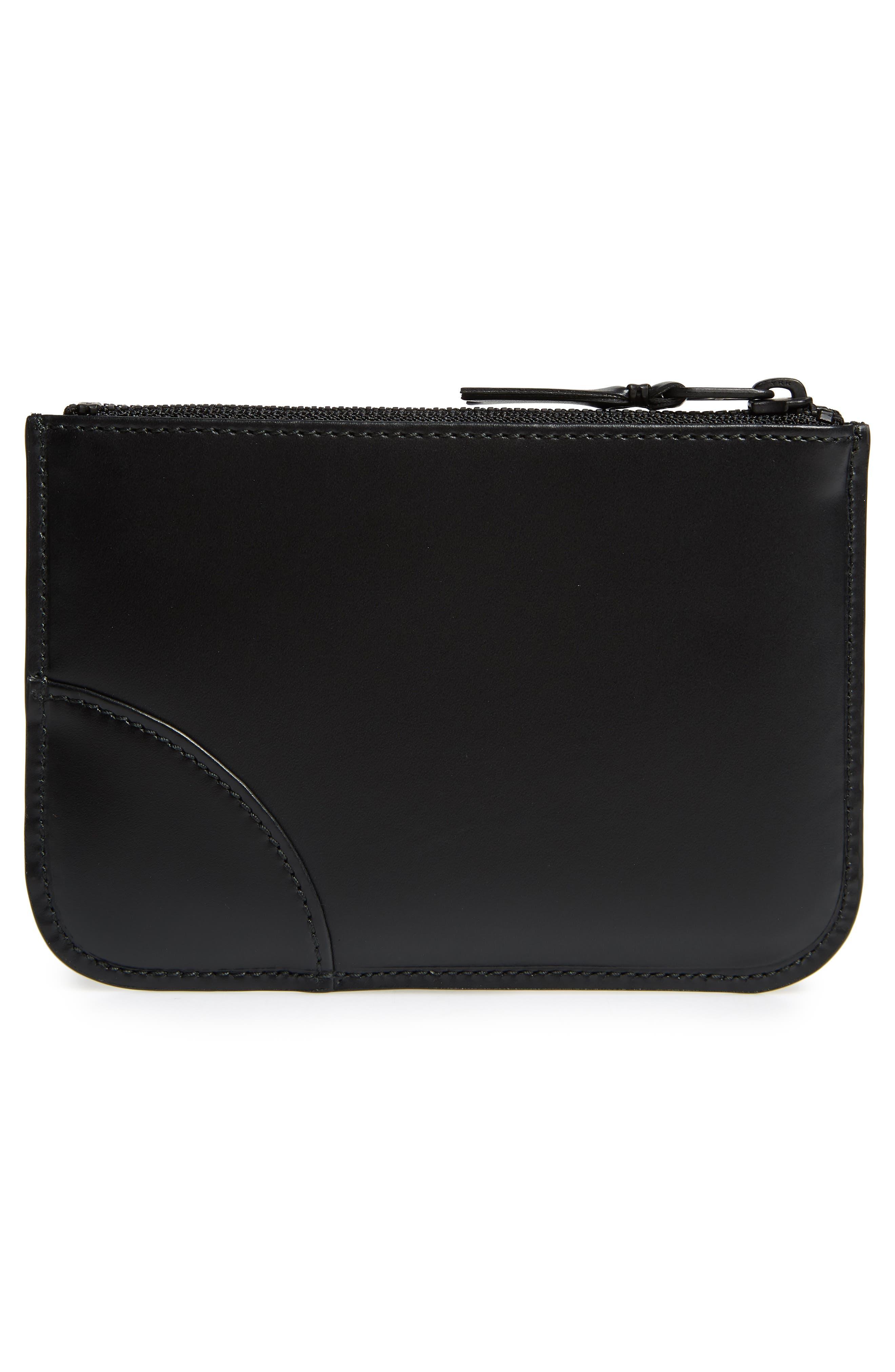 COMME DES GARÇONS, Very Black Leather Line Wallet, Alternate thumbnail 3, color, BLACK
