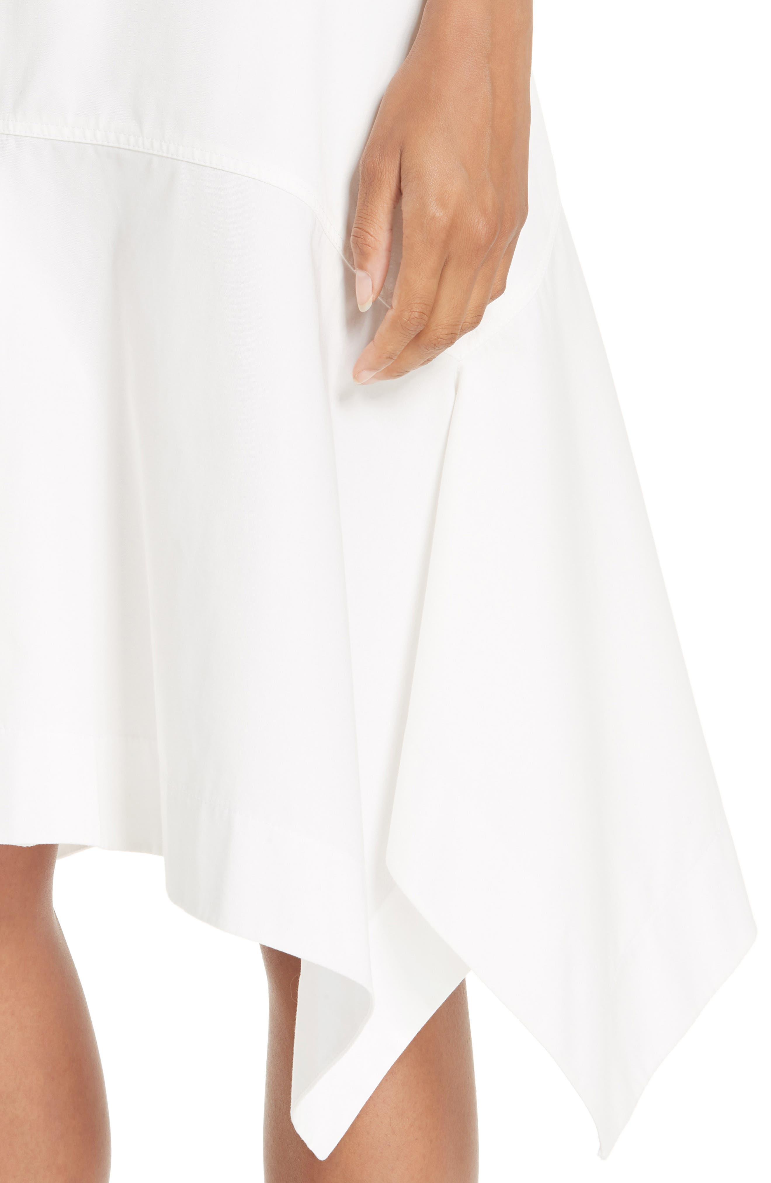 CALVIN KLEIN 205W39NYC, Sharkbite Hem Cotton Gabardine Skirt, Alternate thumbnail 4, color, WHITE