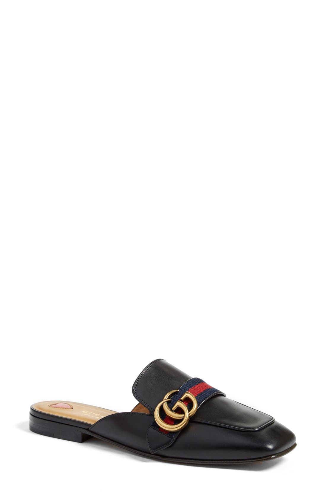 GUCCI Loafer Mule, Main, color, BLACK LEATHER