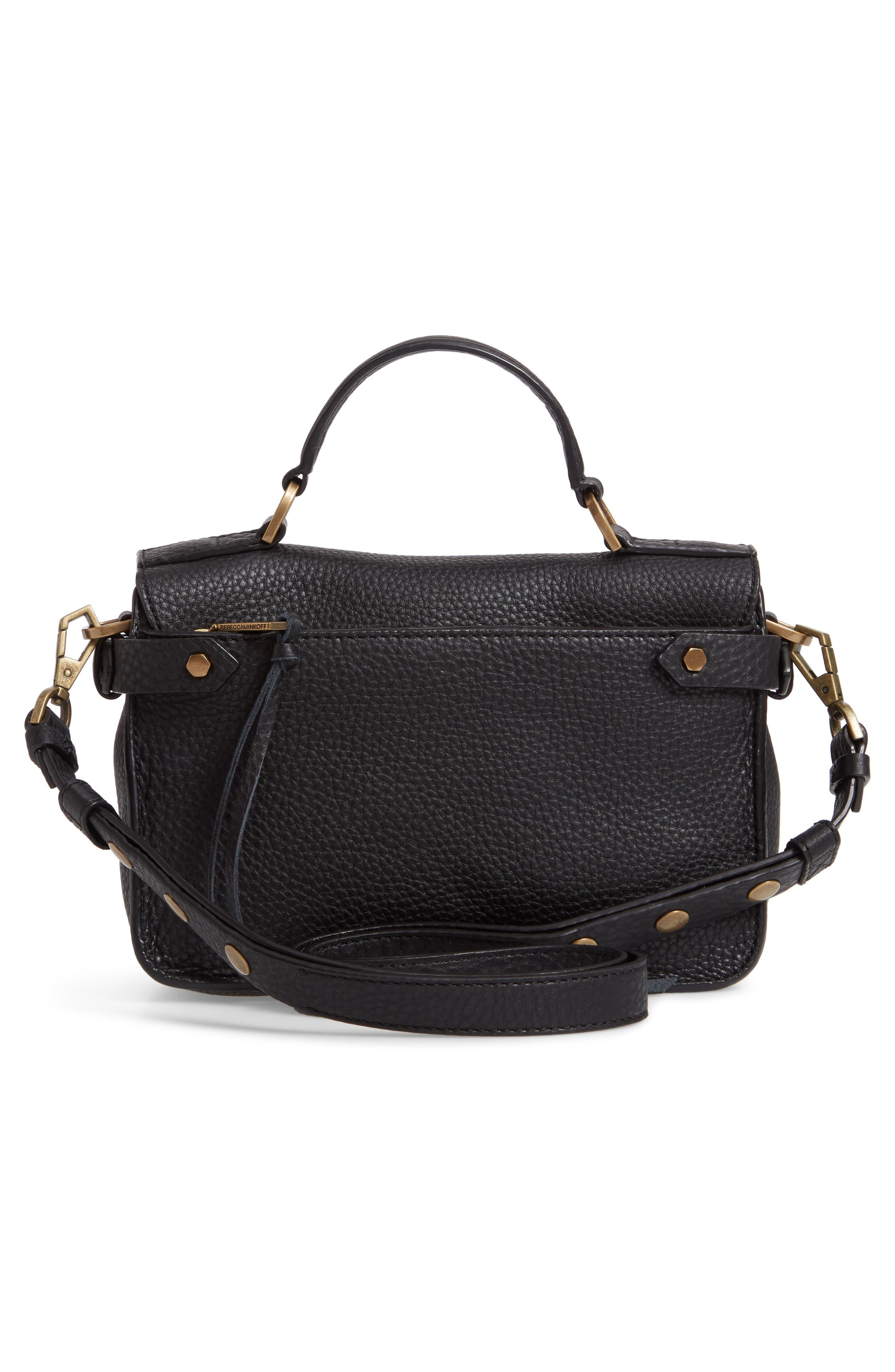 REBECCA MINKOFF, 'Small Darren' Leather Messenger Bag, Alternate thumbnail 3, color, BLACK
