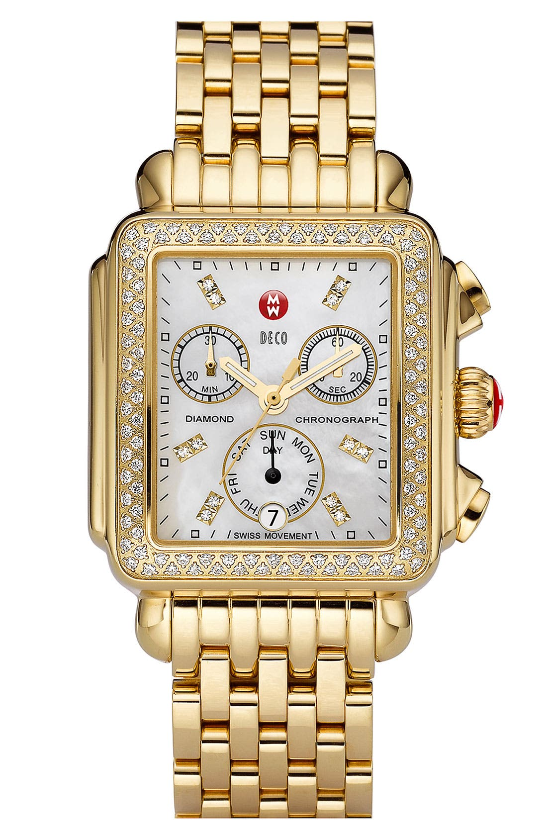 MICHELE, Deco Diamond Diamond Dial Gold Plated Watch Case, 33mm x 35mm, Alternate thumbnail 4, color, GOLD