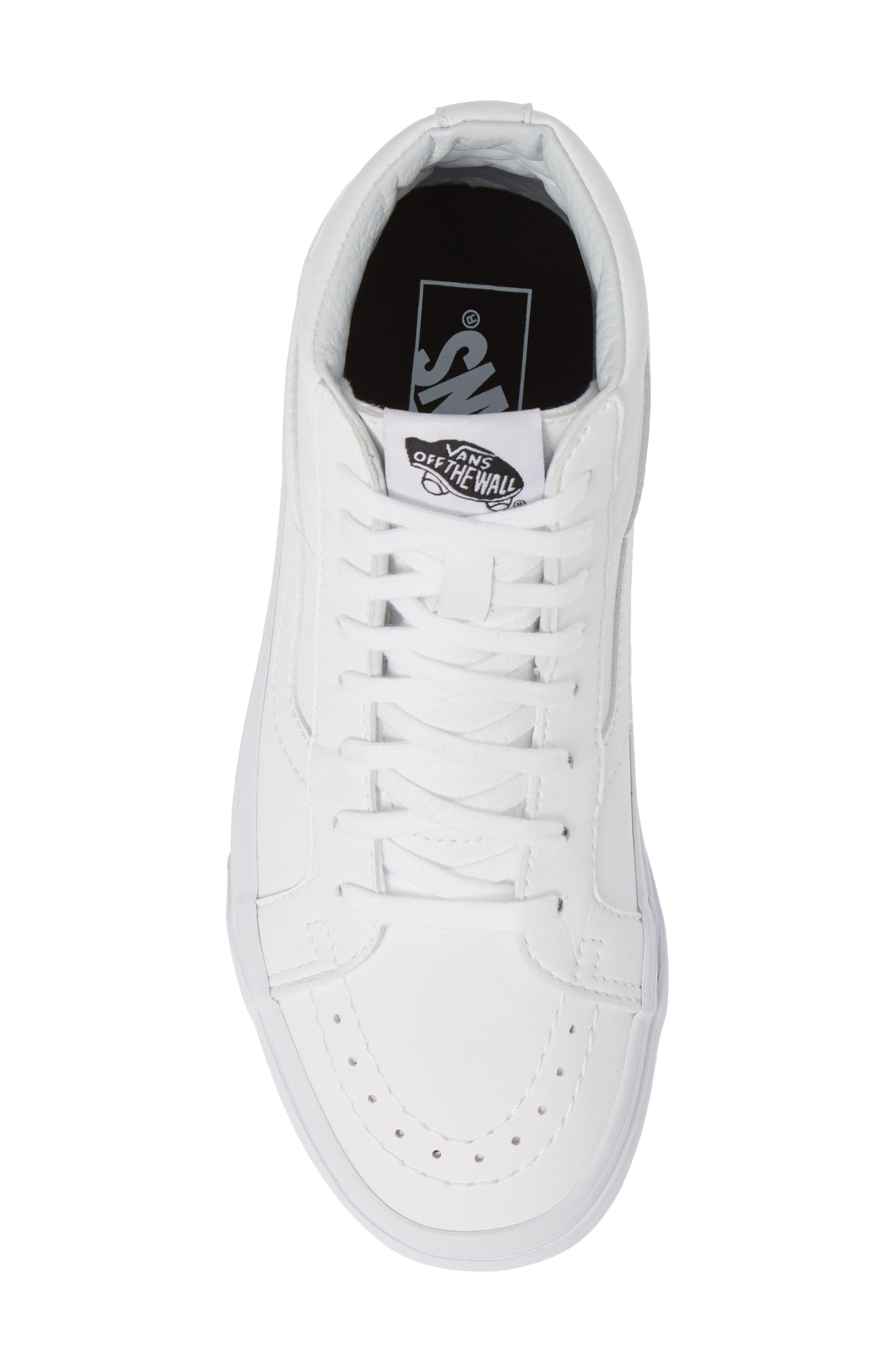 VANS, 'Sk8-Hi Reissue' Sneaker, Alternate thumbnail 5, color, TRUE WHITE