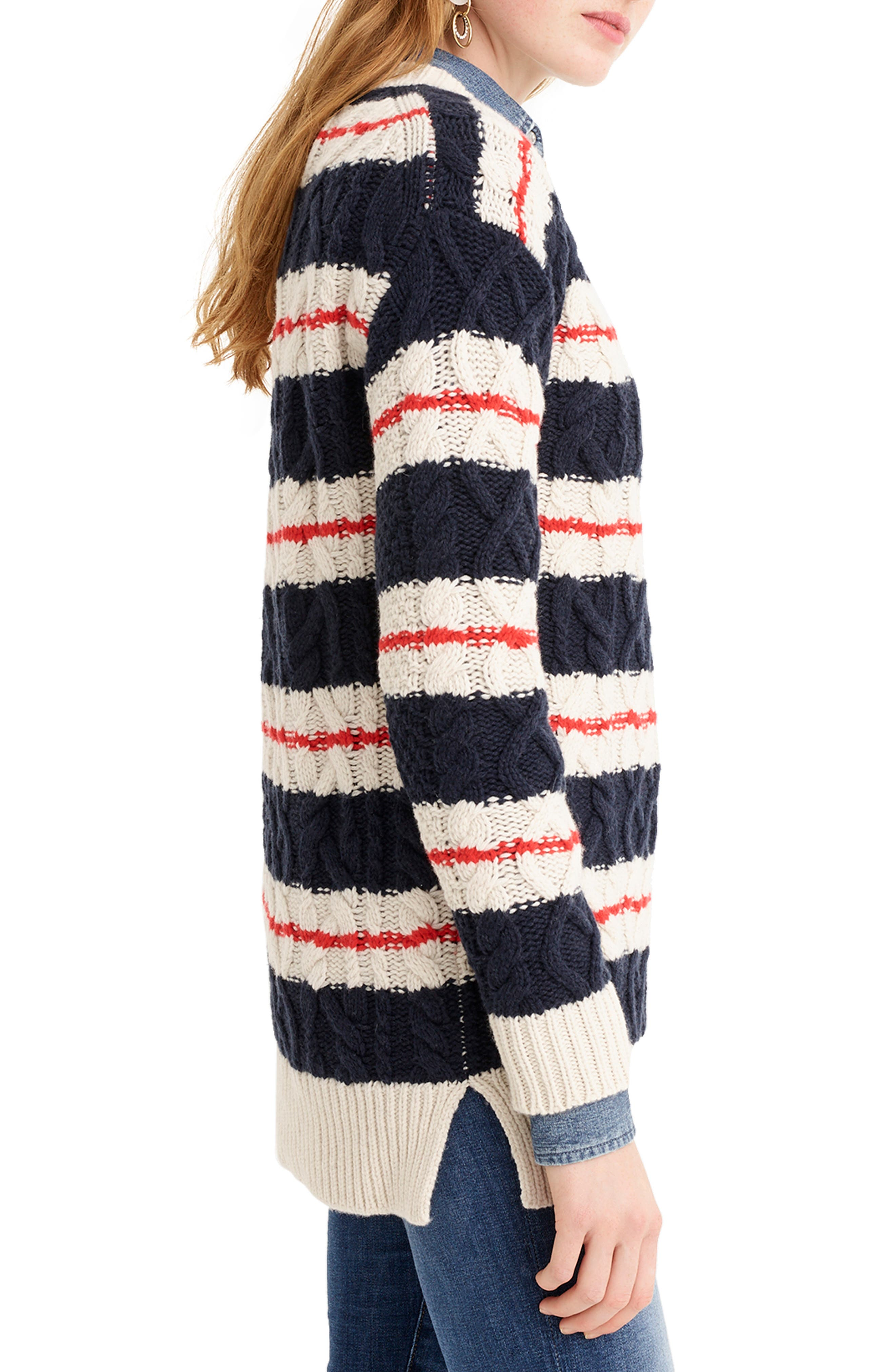 J.CREW, Stripe Cable Knit Tunic Sweater, Alternate thumbnail 3, color, 400
