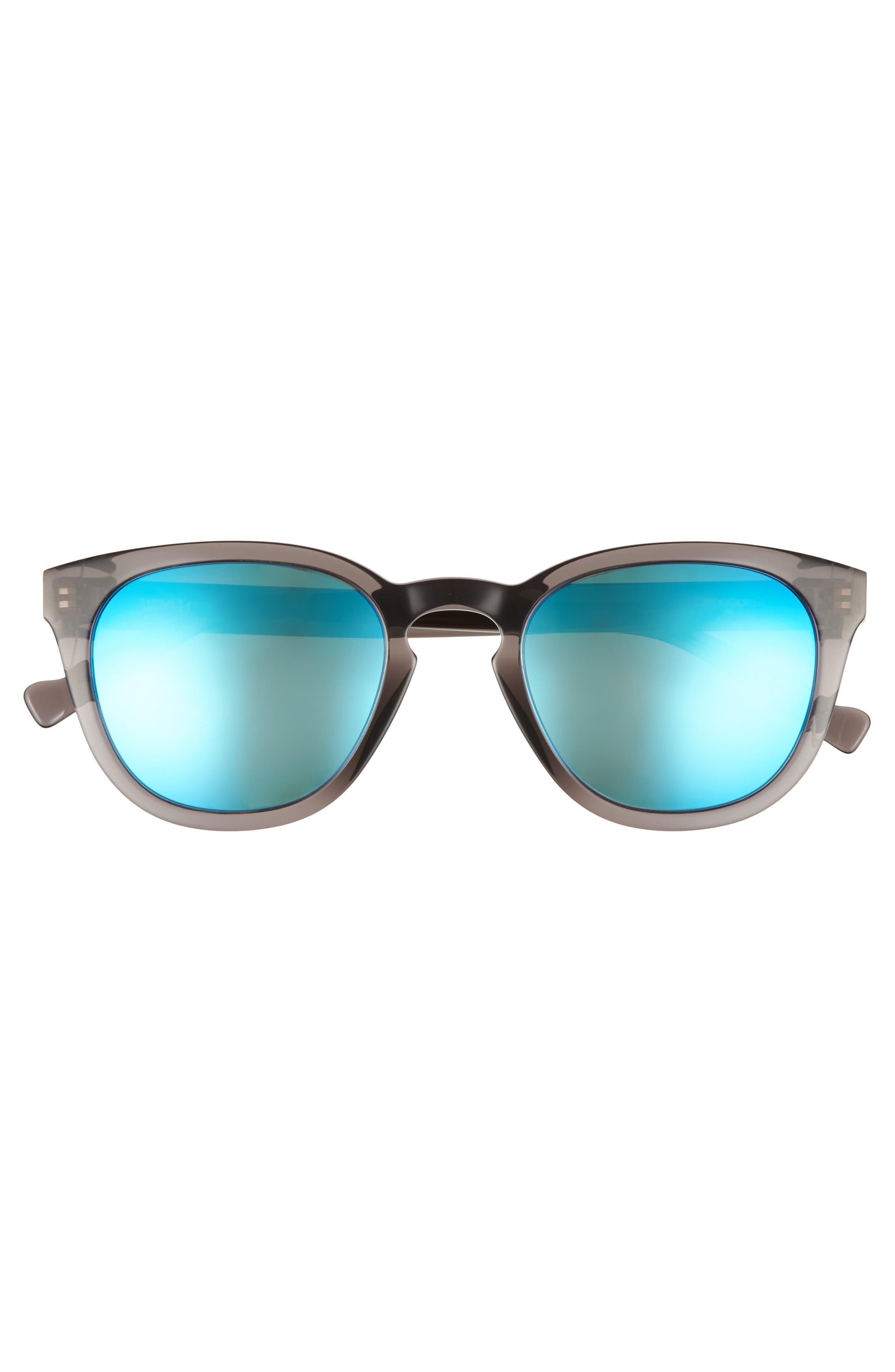 MAHO, Capetown 50mm Polarized Round Sunglasses, Alternate thumbnail 3, color, SLATE