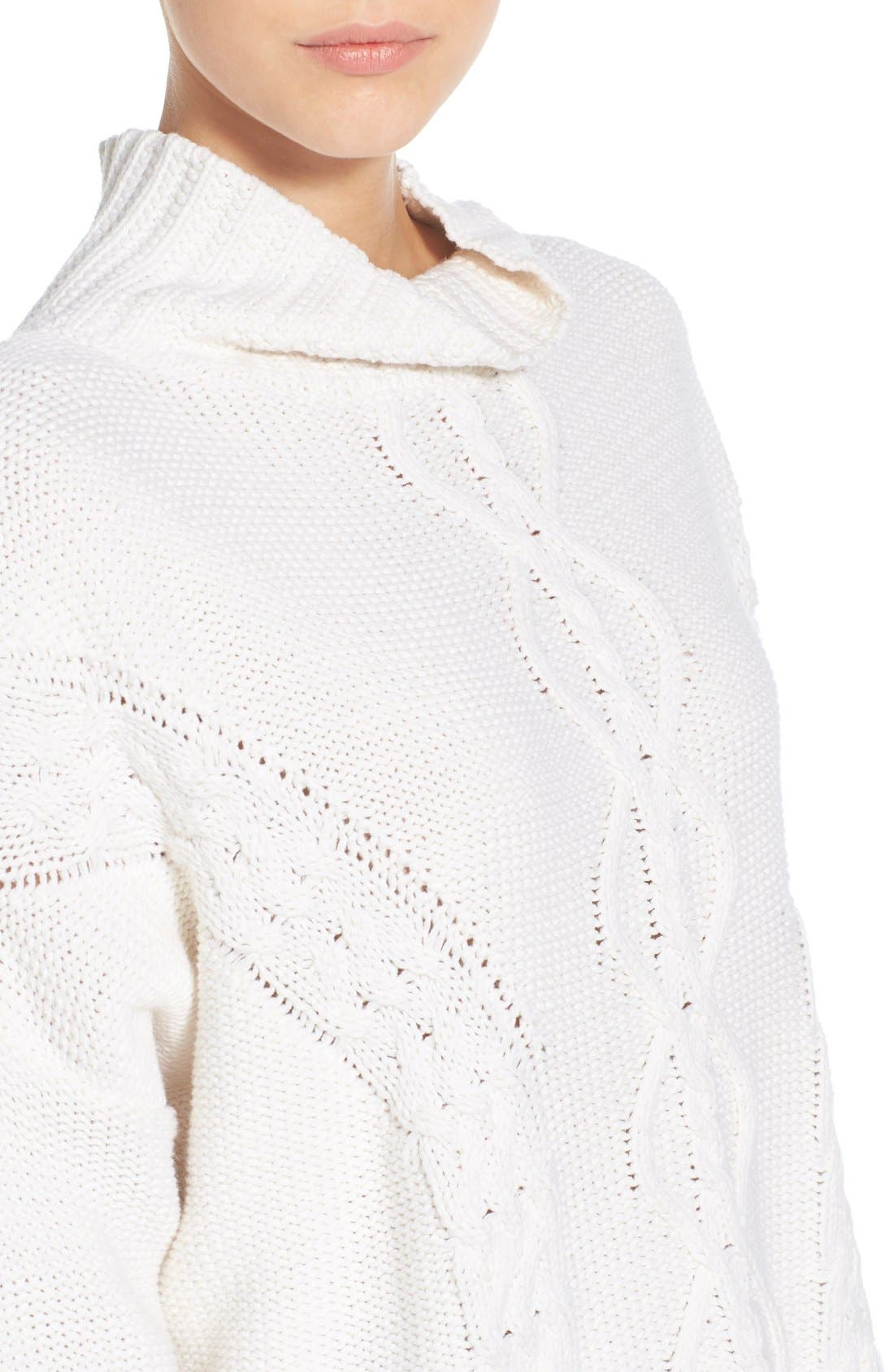 RHYTHM, 'Yacht' Cable Knit Turtleneck Sweater, Alternate thumbnail 4, color, 100