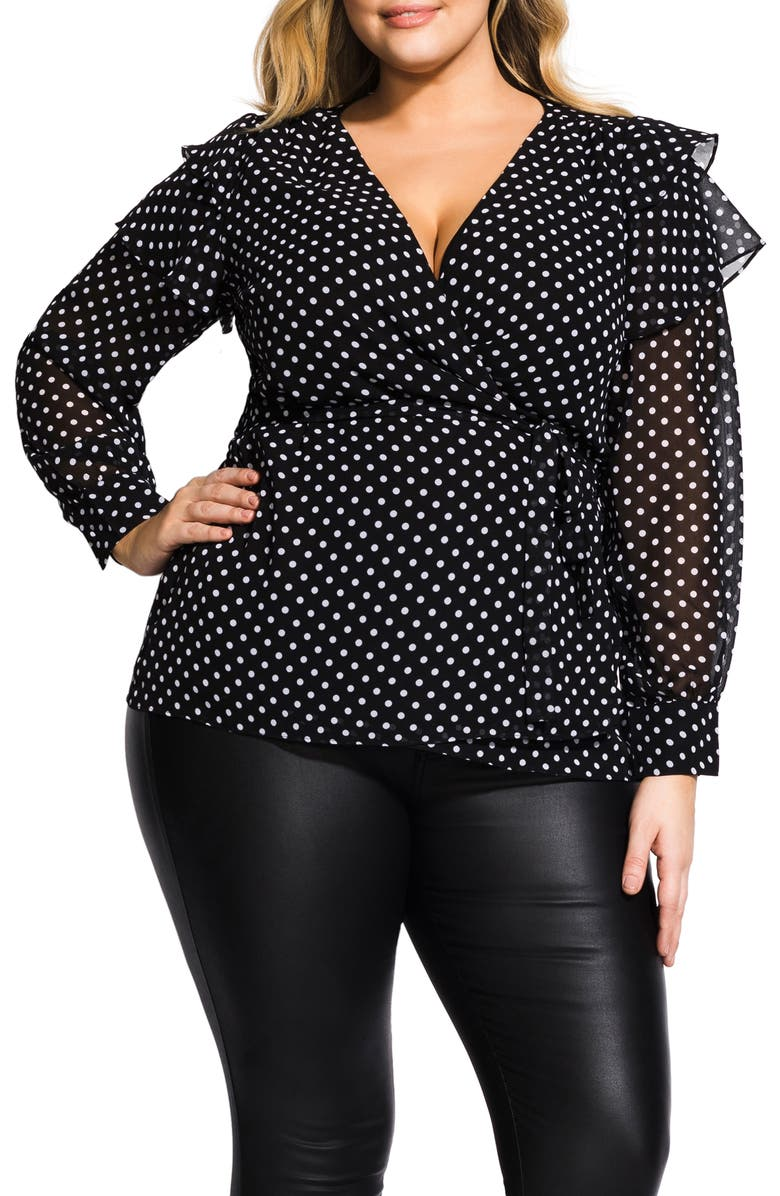 City Chic  POLKA DOT WRAP TOP