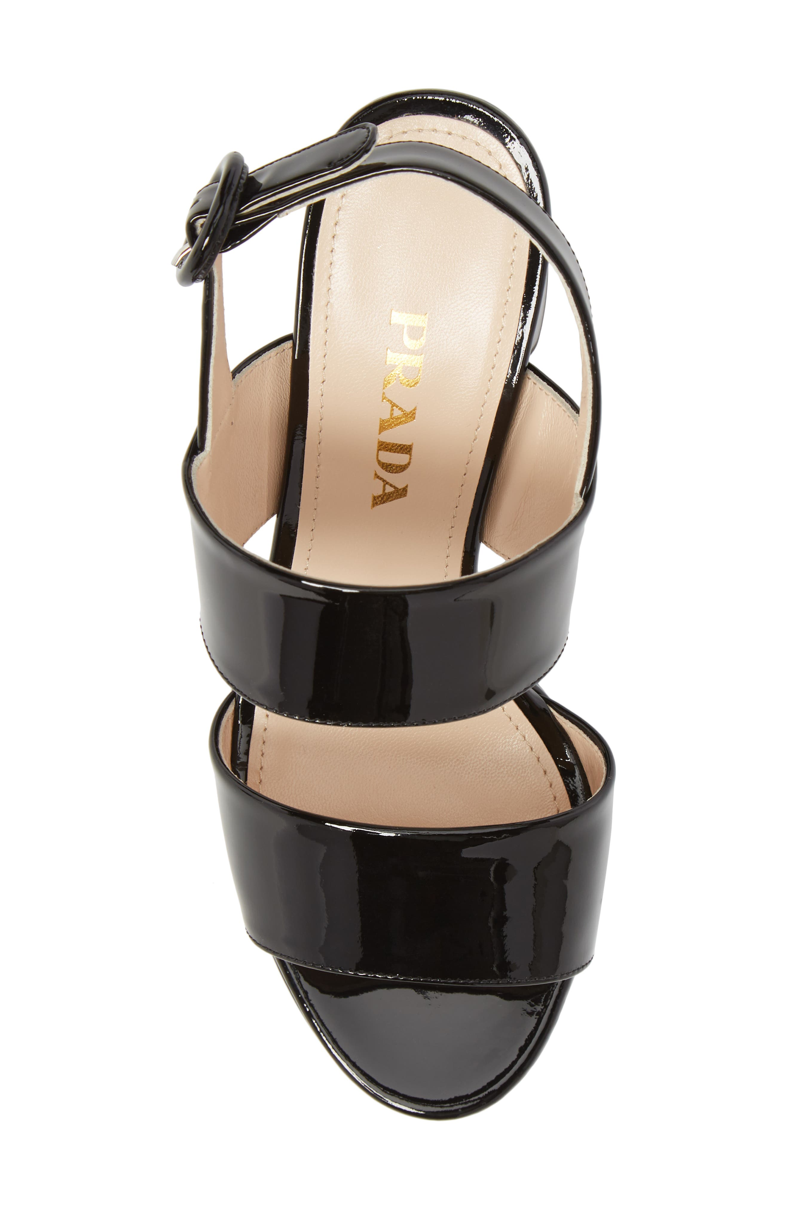 PRADA, Slingback Platform Sandal, Alternate thumbnail 5, color, BLACK PATENT