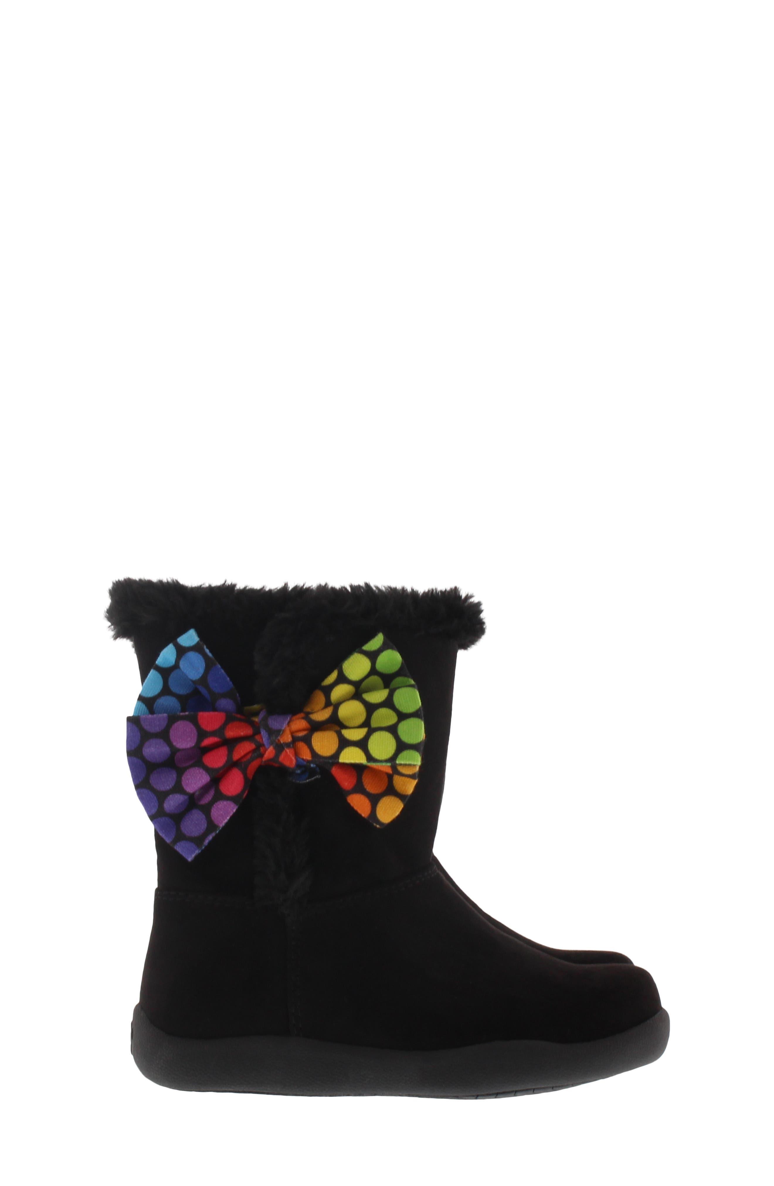 CHOOZE, Wish Faux Fur Lined Boot, Alternate thumbnail 3, color, BLACK