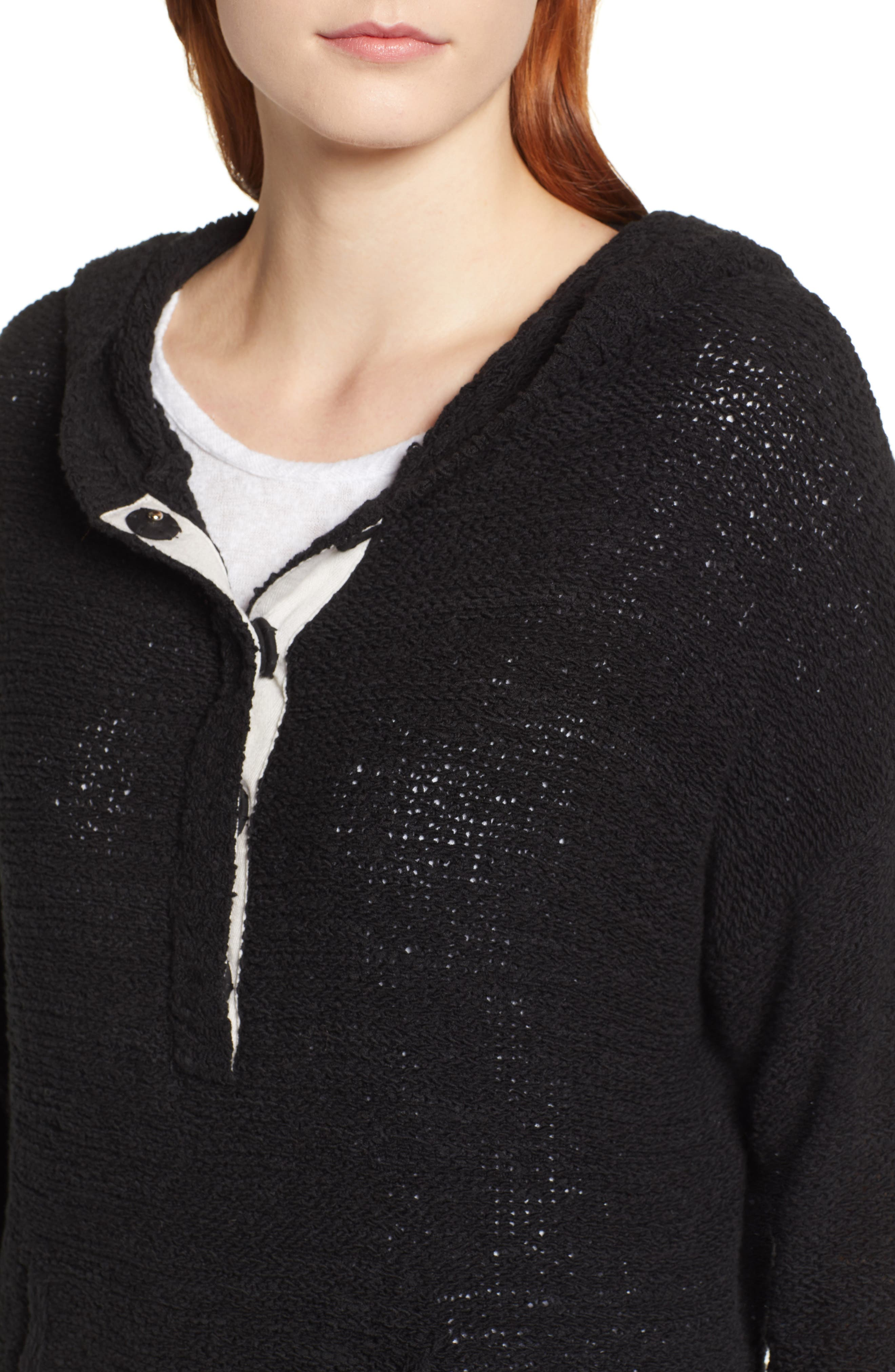 CASLON<SUP>®</SUP>, Beachy Hooded Knit Sweater, Alternate thumbnail 4, color, 001