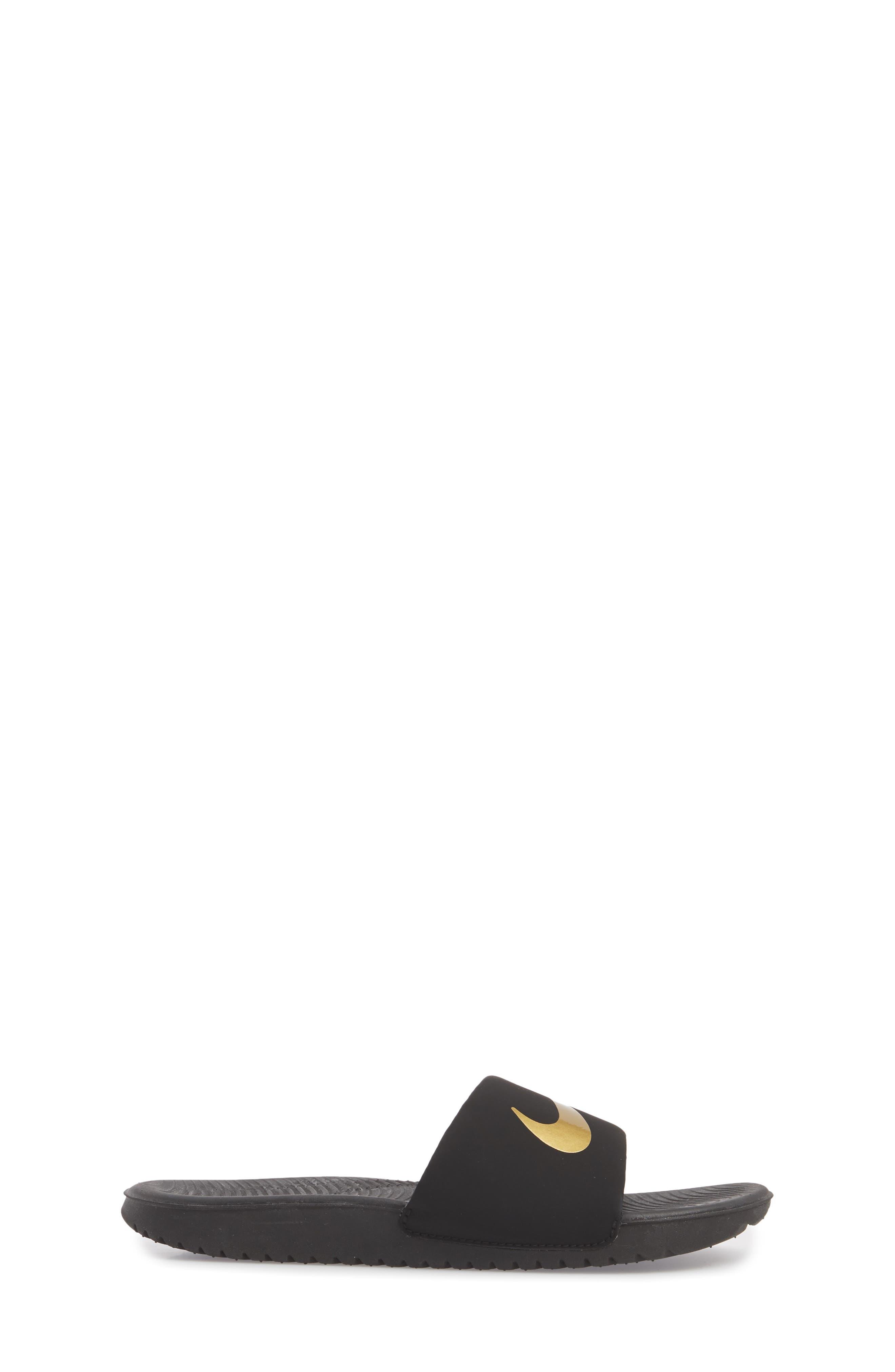 NIKE, 'Kawa' Slide Sandal, Alternate thumbnail 3, color, BLACK/ METALLIC GOLD