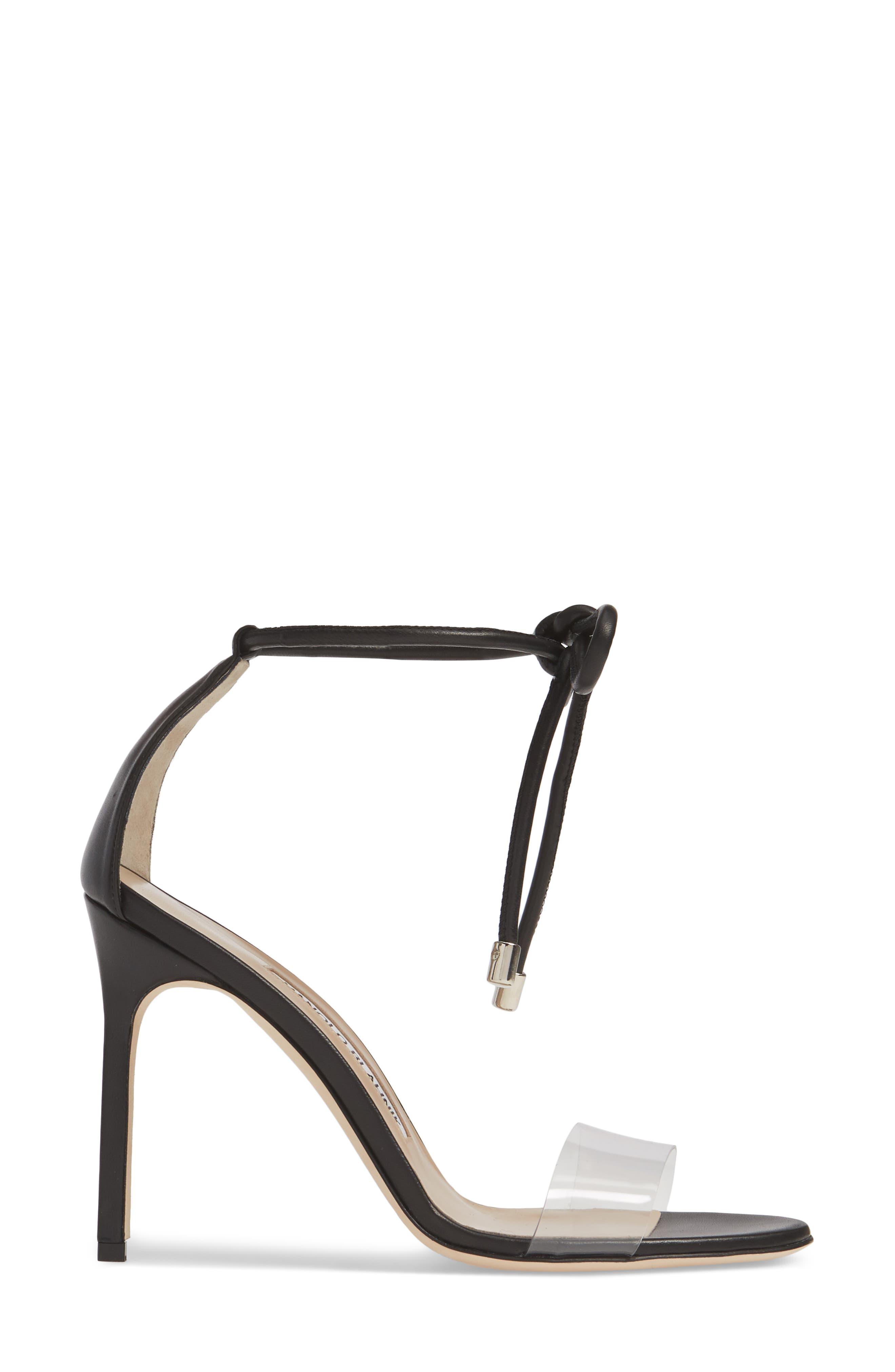 MANOLO BLAHNIK, Estro Ankle Tie Sandal, Alternate thumbnail 3, color, BLACK LEATHER