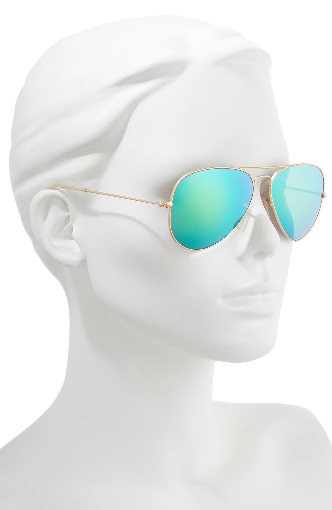 RAY-BAN, 58mm Mirrored Aviator Sunglasses, Alternate thumbnail 2, color, GOLD/ GREEN FLASH MIRROR