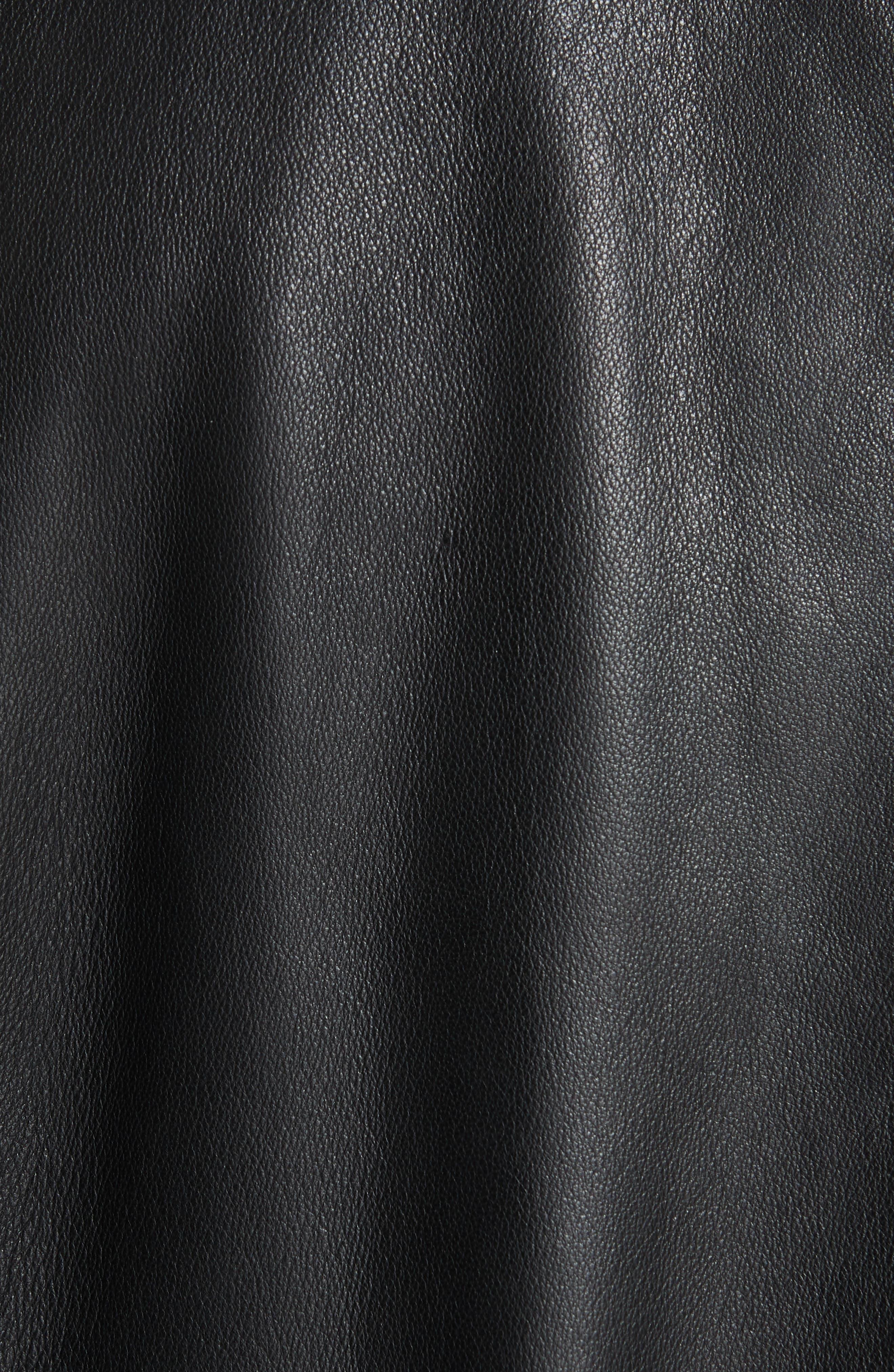 EMPORIO ARMANI, Leather Bomber Jacket, Alternate thumbnail 7, color, BLACK