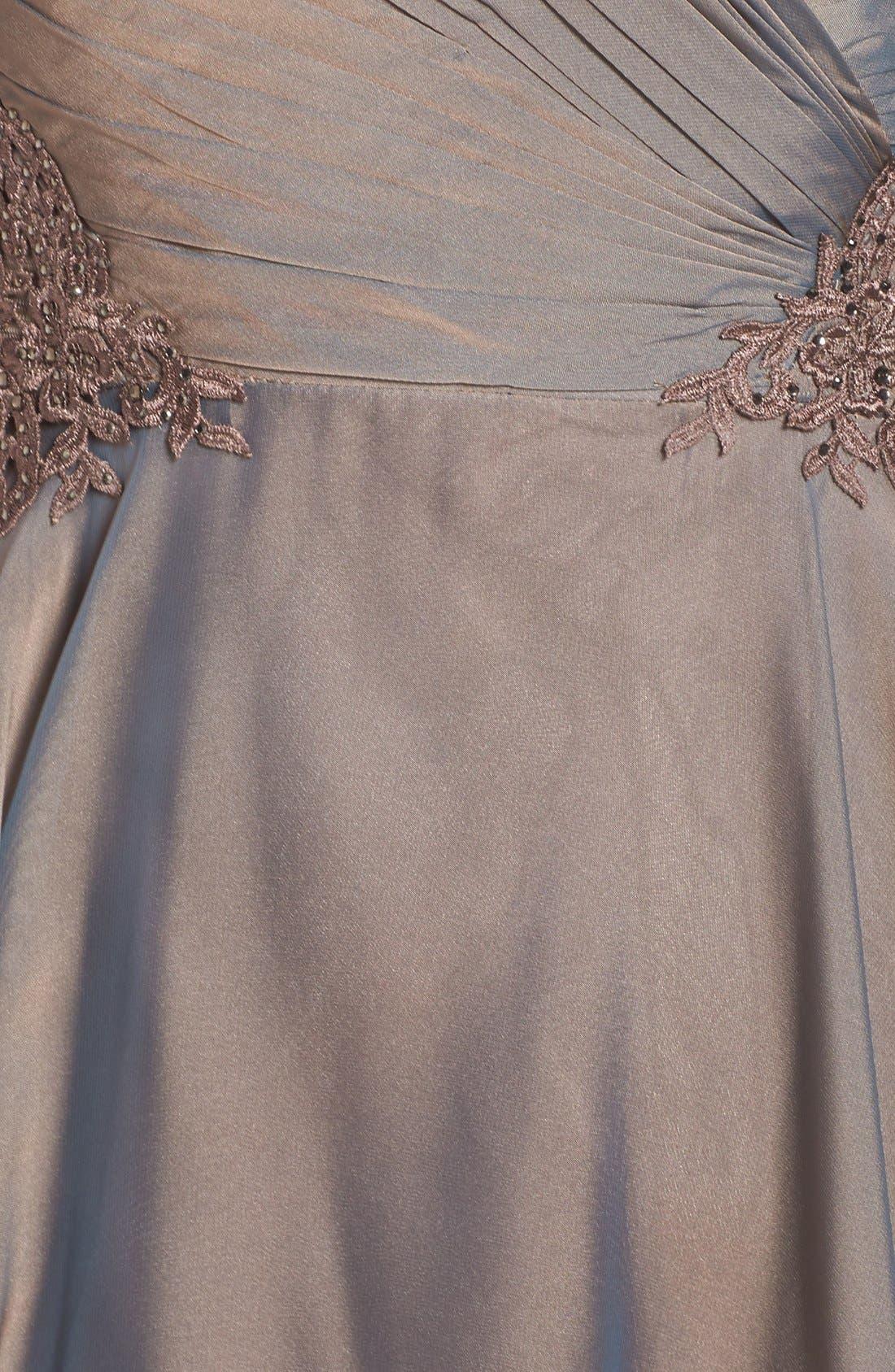 LA FEMME, Ruched Chiffon Gown, Alternate thumbnail 5, color, COCOA