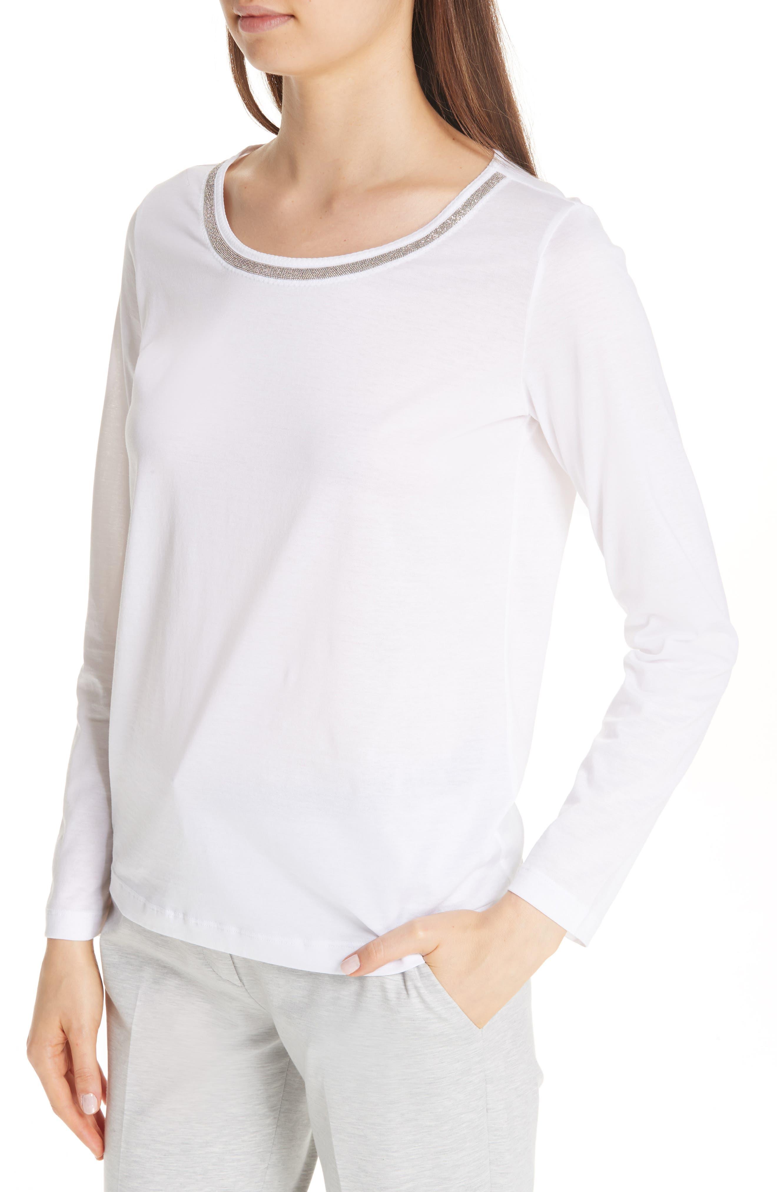 FABIANA FILIPPI, Chain Trim Jersey Top, Alternate thumbnail 4, color, WHITE