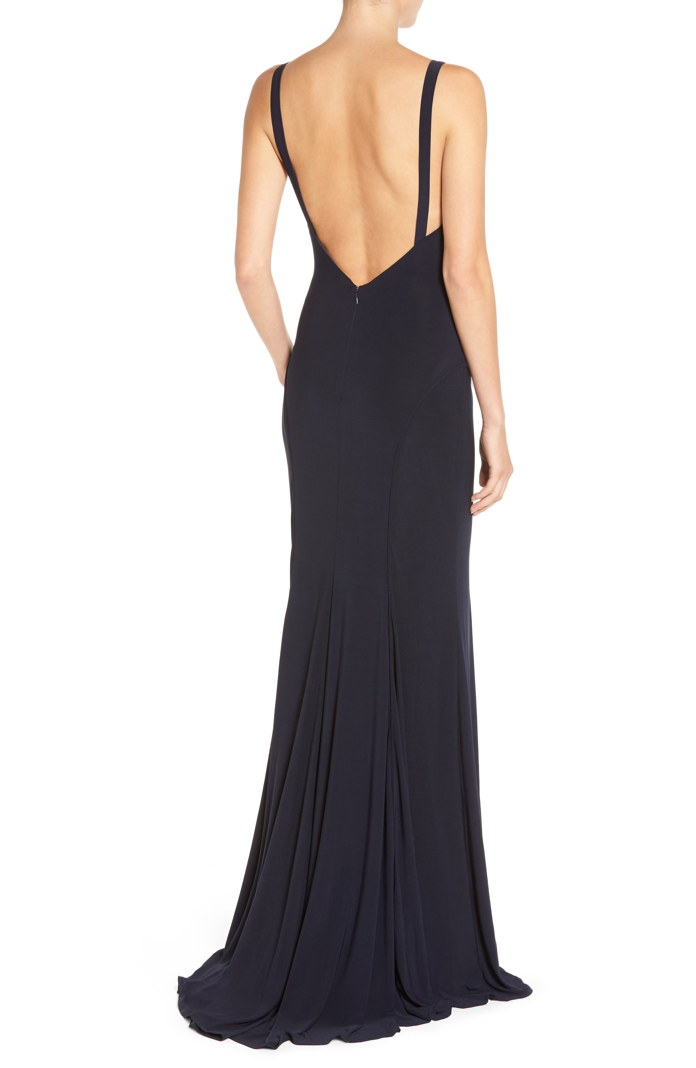 IEENA FOR MAC DUGGAL, Jersey Gown, Alternate thumbnail 2, color, MIDNIGHT