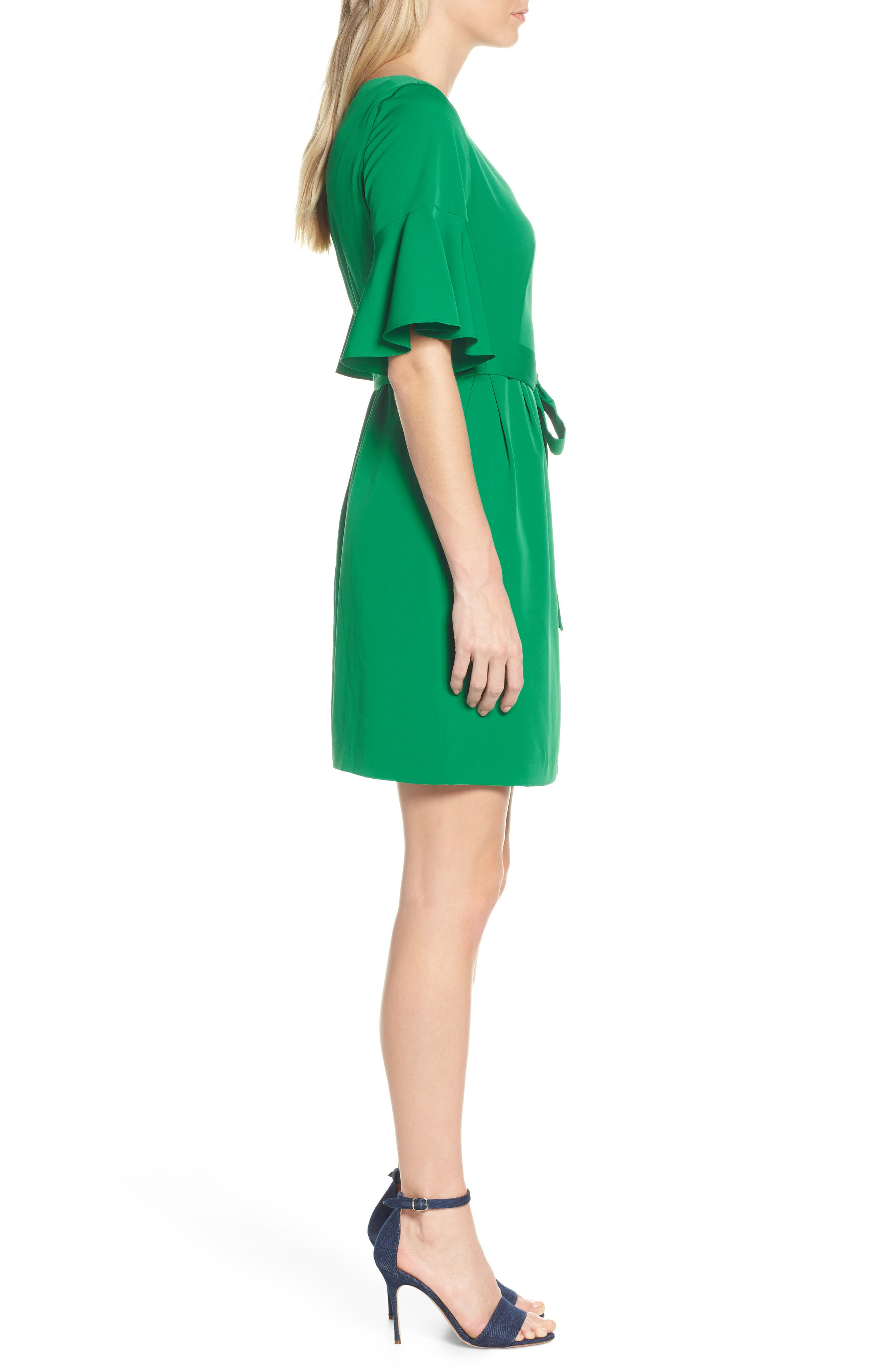 ELIZA J, Bell Sleeve Sheath Dress, Alternate thumbnail 4, color, GREEN