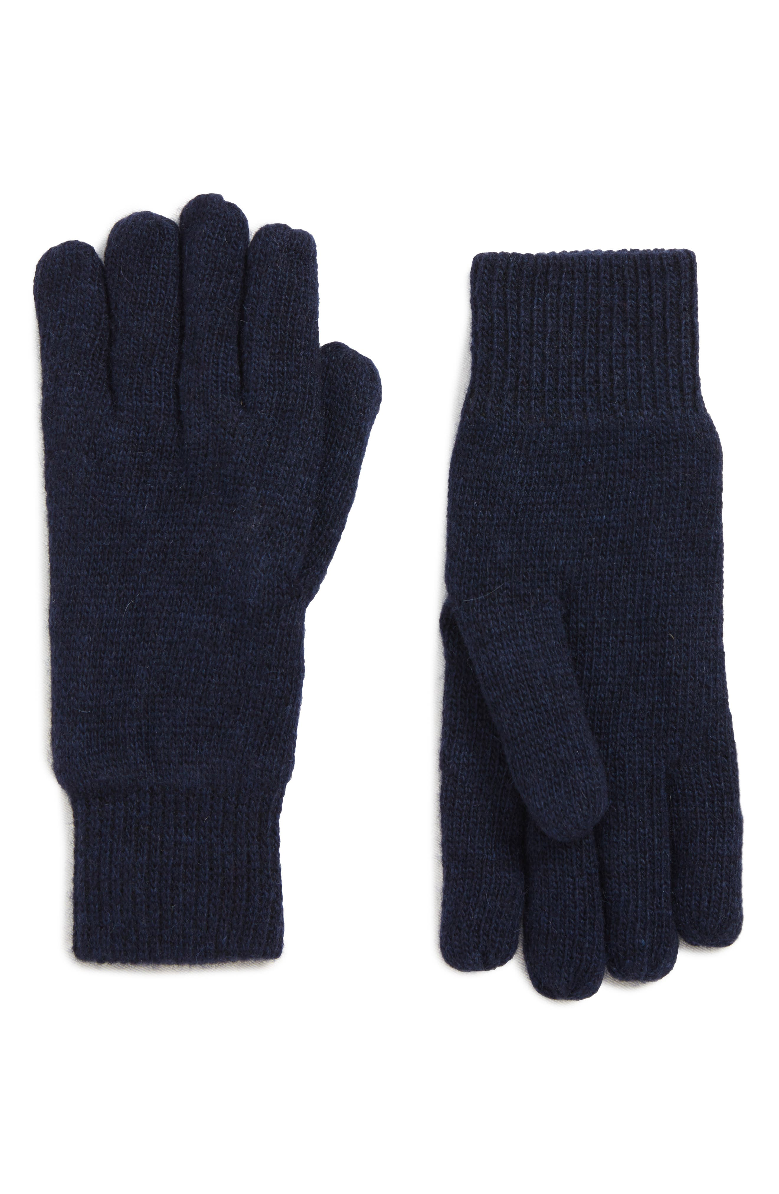 BARBOUR, Carlton Stretch Wool Gloves, Main thumbnail 1, color, NAVY