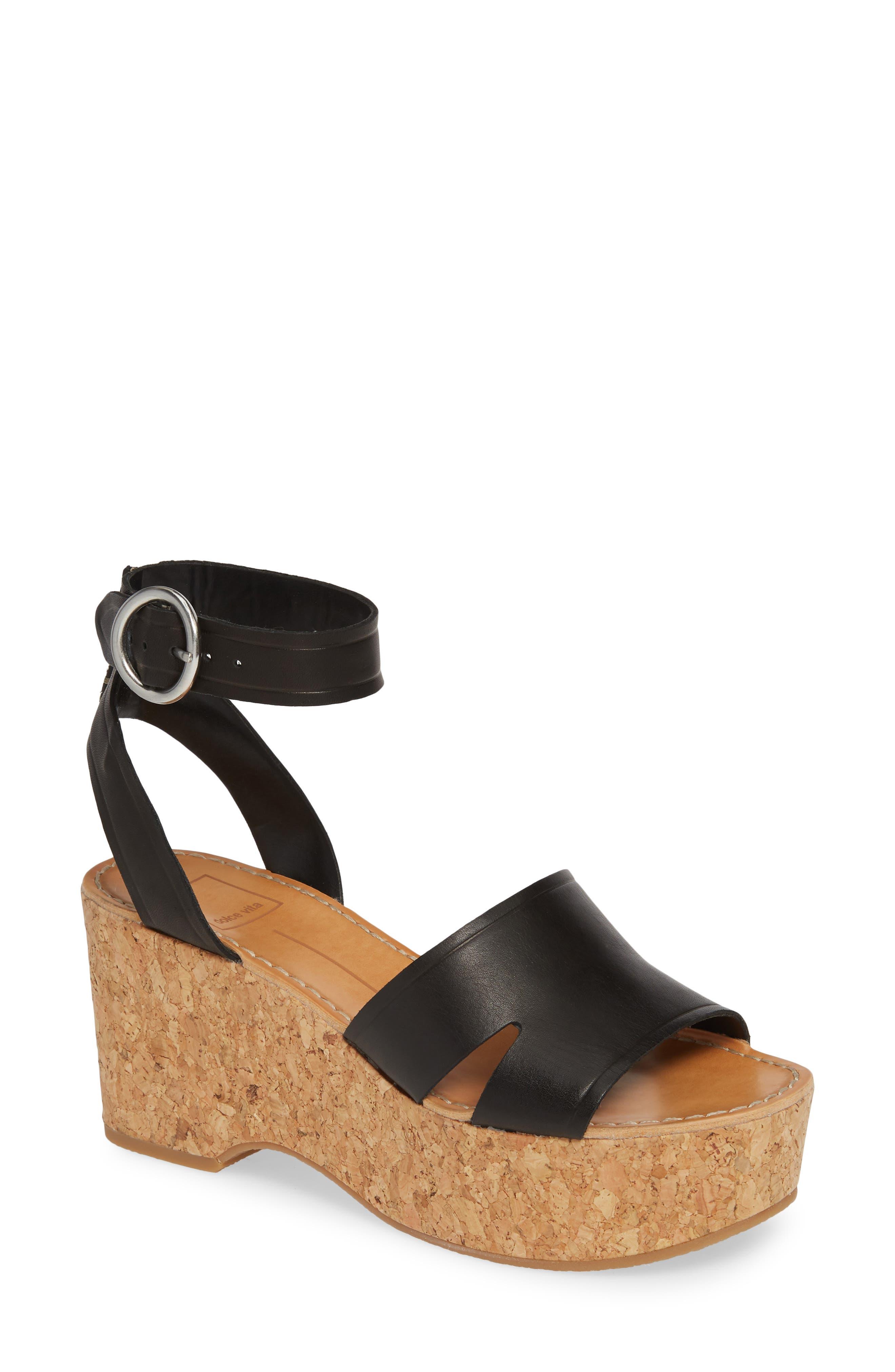 DOLCE VITA, Linda Cork Platform Sandal, Main thumbnail 1, color, 001