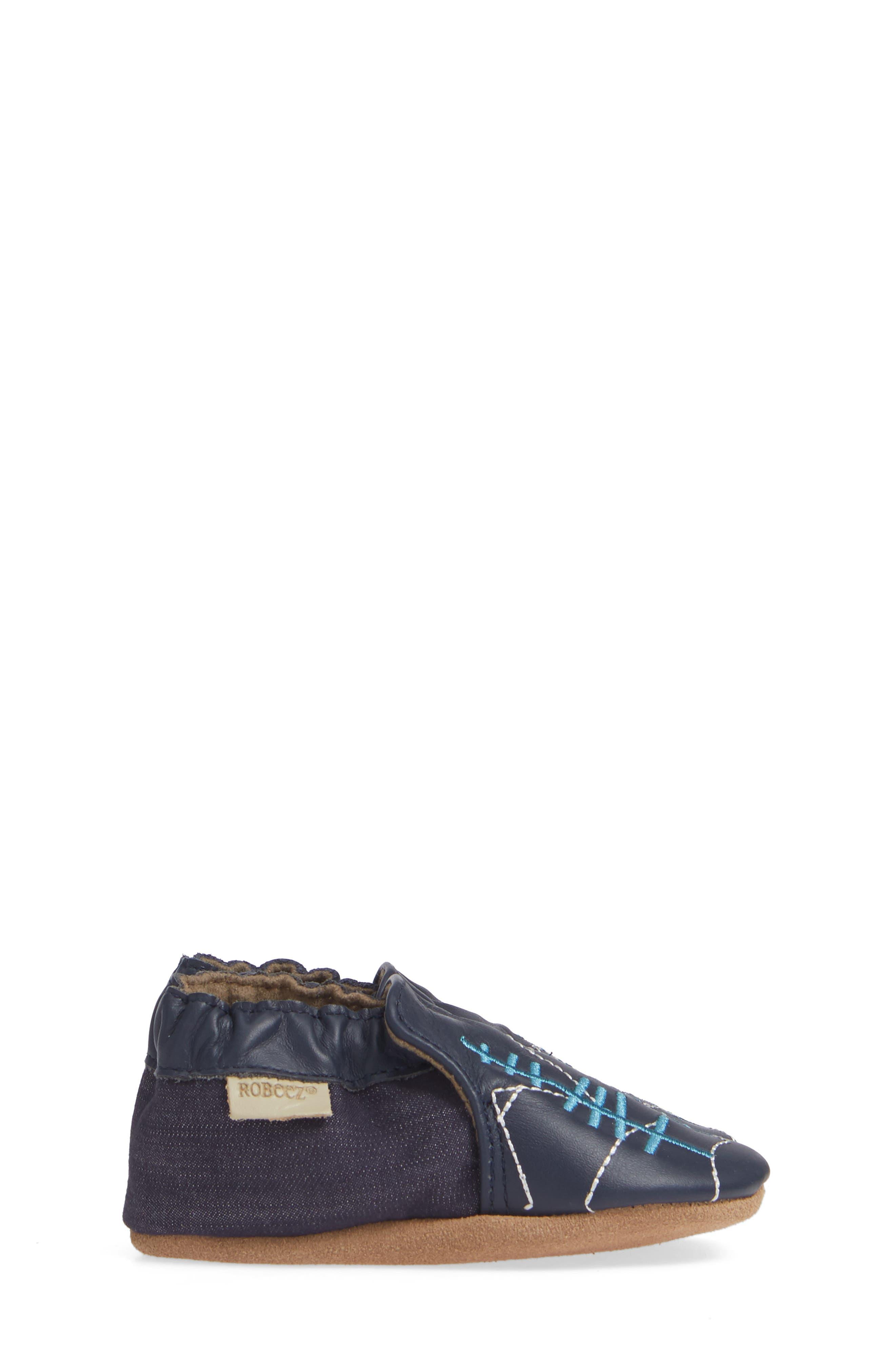ROBEEZ<SUP>®</SUP>, Mountain Explorer Moccasin Crib Shoe, Alternate thumbnail 4, color, NAVY